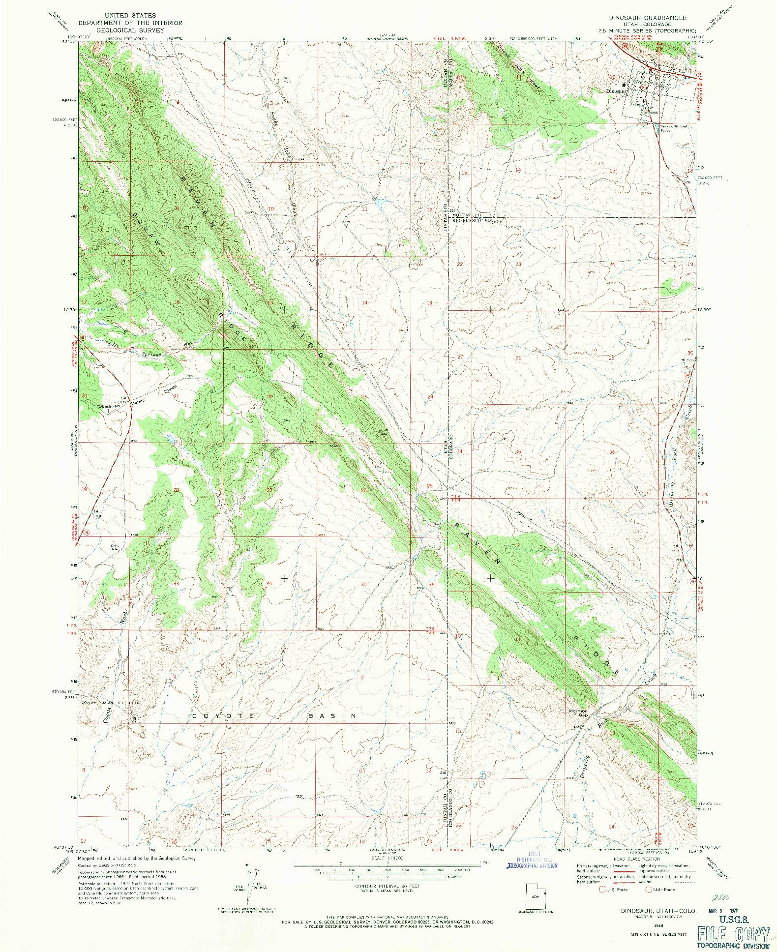 USGS 1:24000-SCALE QUADRANGLE FOR DINOSAUR, UT 1968