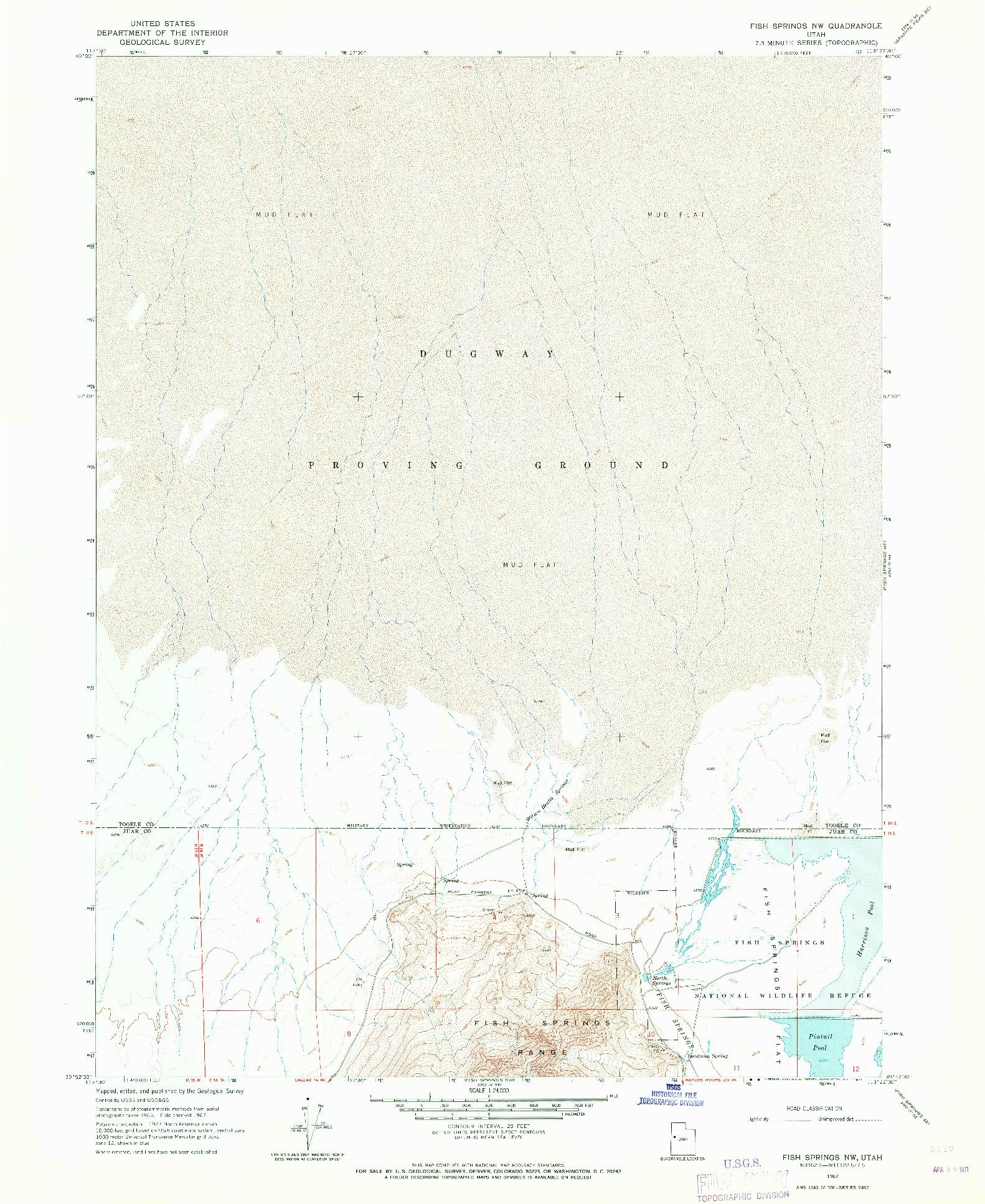 USGS 1:24000-SCALE QUADRANGLE FOR FISH SPRINGS NW, UT 1967
