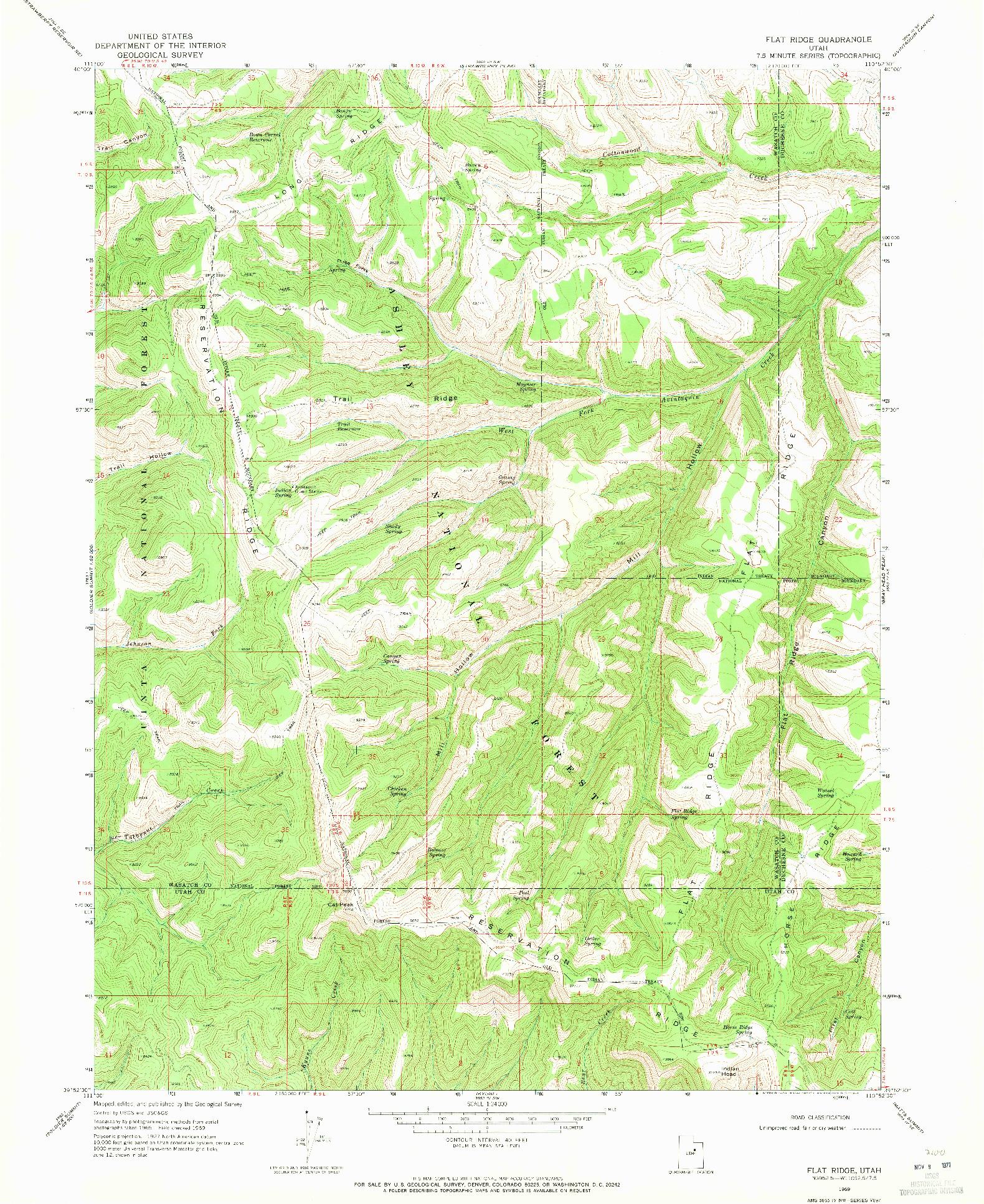 USGS 1:24000-SCALE QUADRANGLE FOR FLAT RIDGE, UT 1969