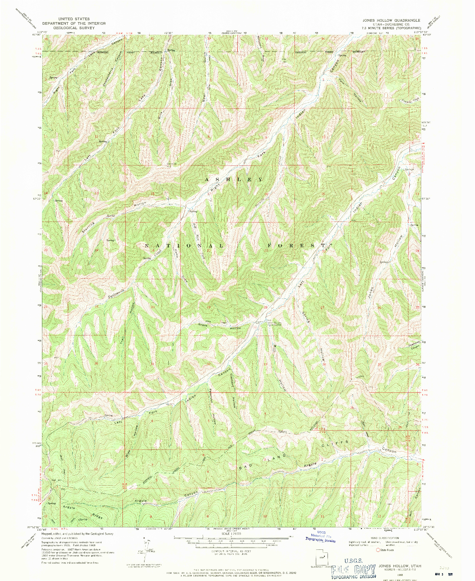 USGS 1:24000-SCALE QUADRANGLE FOR JONES HOLLOW, UT 1968
