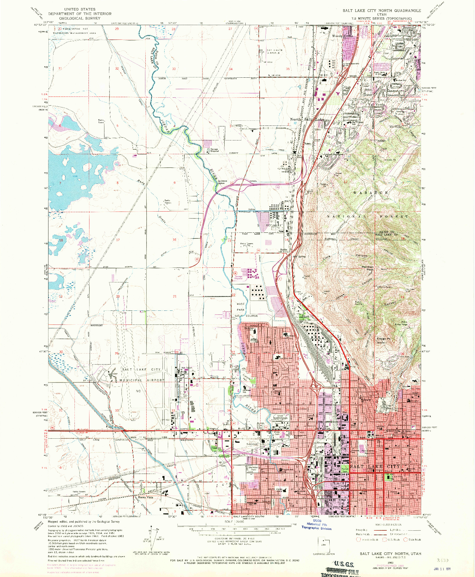 USGS 1:24000-SCALE QUADRANGLE FOR SALT LAKE CITY NORTH, UT 1963