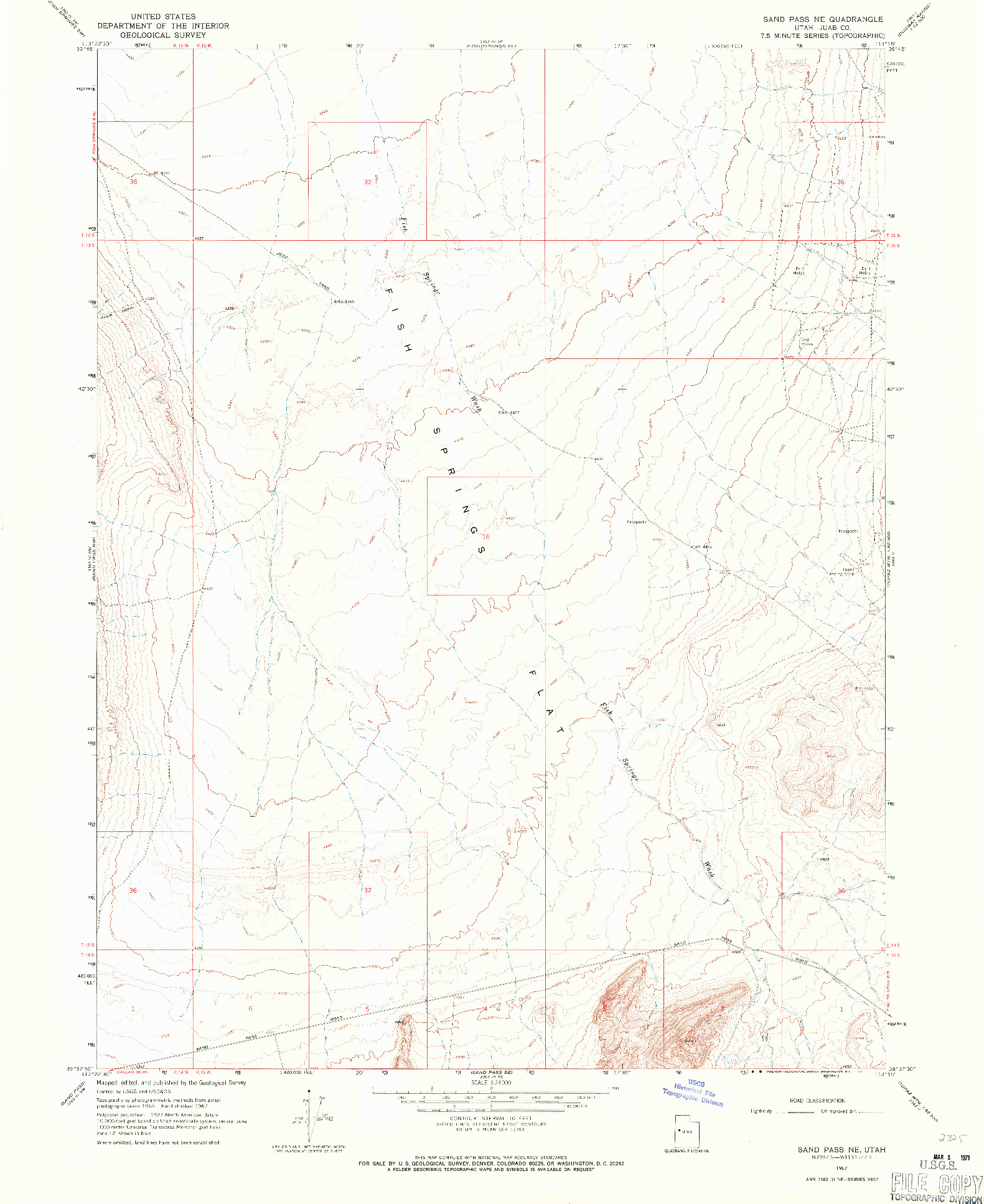 USGS 1:24000-SCALE QUADRANGLE FOR SAND PASS NE, UT 1967