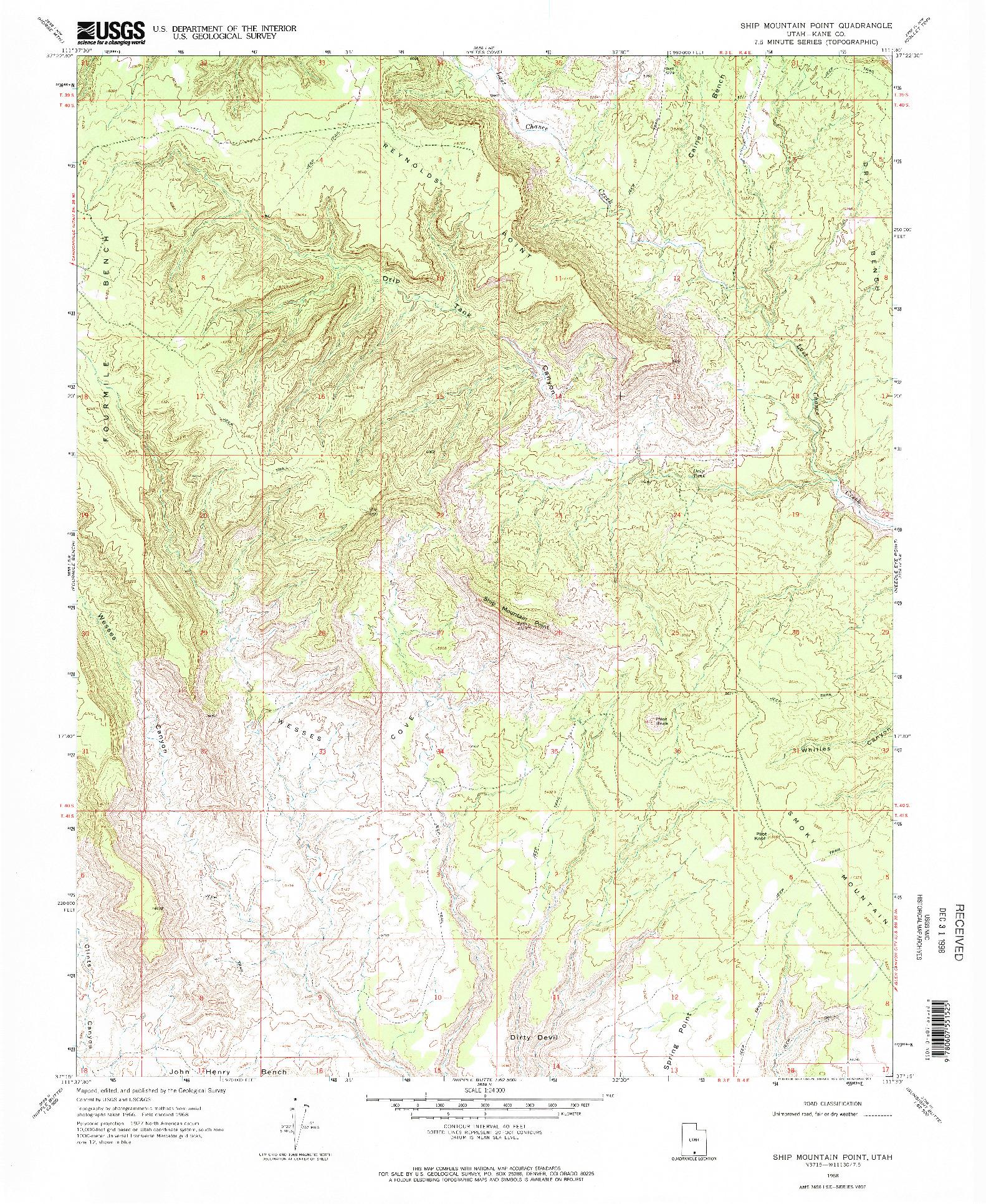 USGS 1:24000-SCALE QUADRANGLE FOR SHIP MOUNTAIN POINT, UT 1968