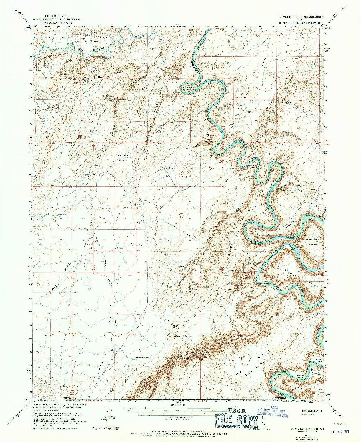 USGS 1:62500-SCALE QUADRANGLE FOR BOWKNOT BEND, UT 1963