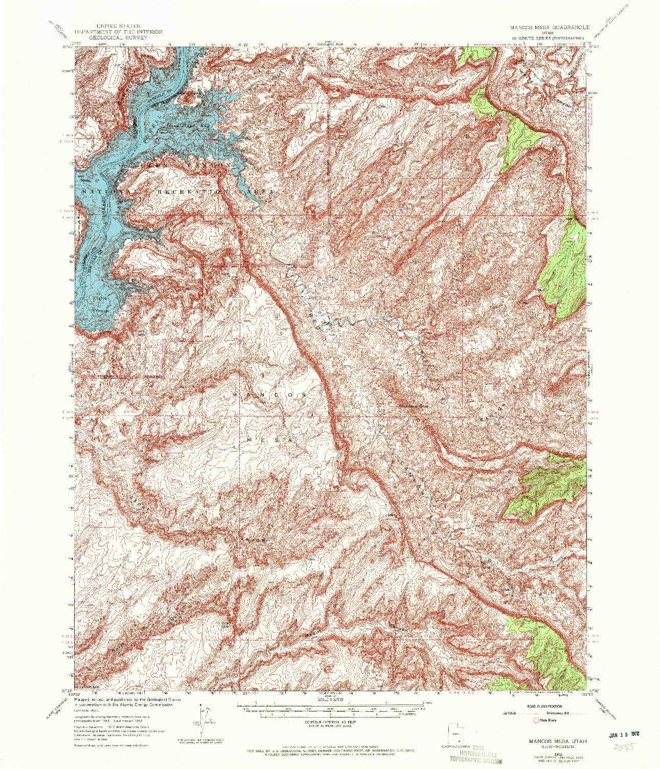 USGS 1:62500-SCALE QUADRANGLE FOR MANCOS MESA, UT 1952