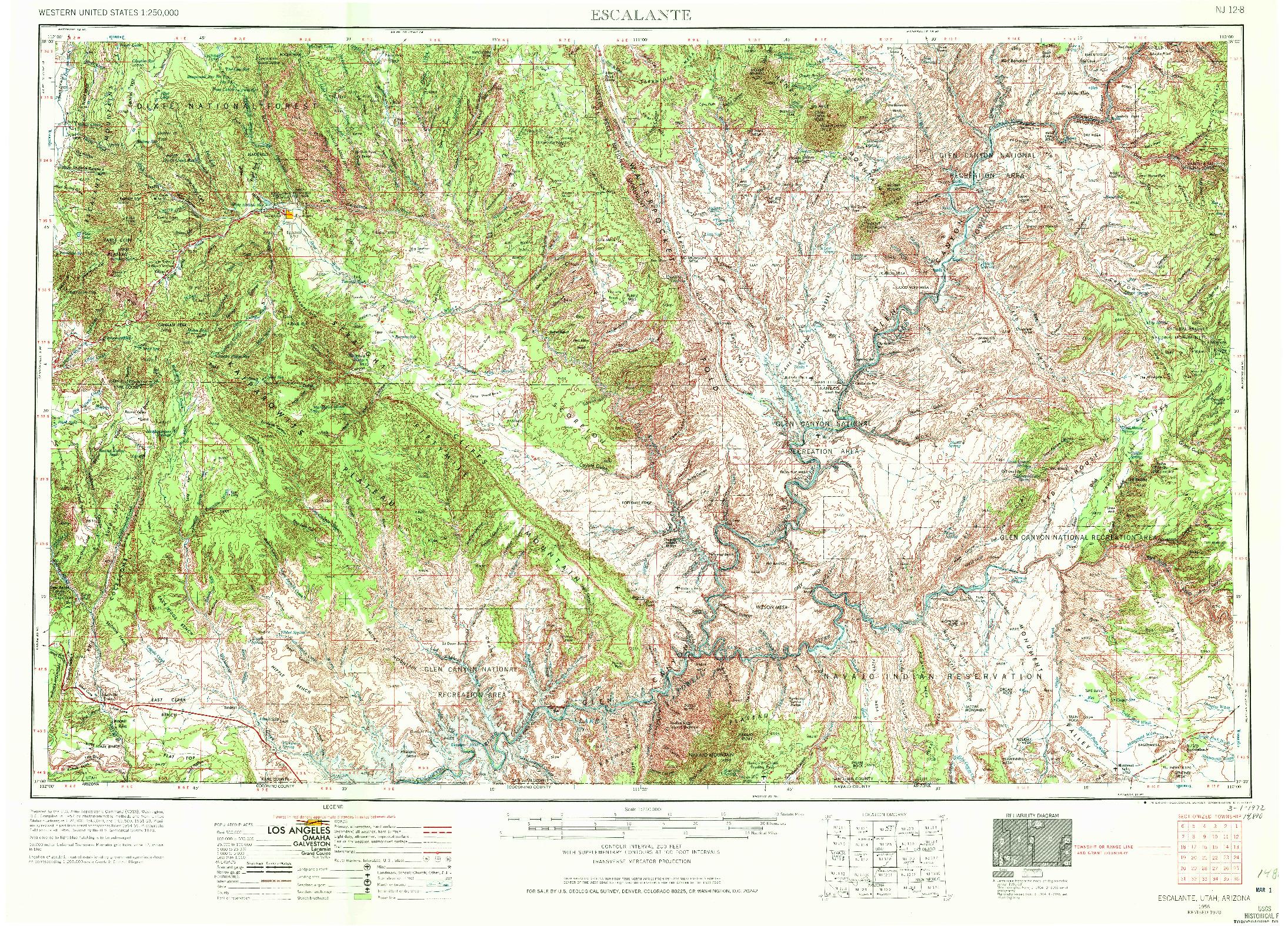 USGS 1:250000-SCALE QUADRANGLE FOR ESCALANTE, UT 1956