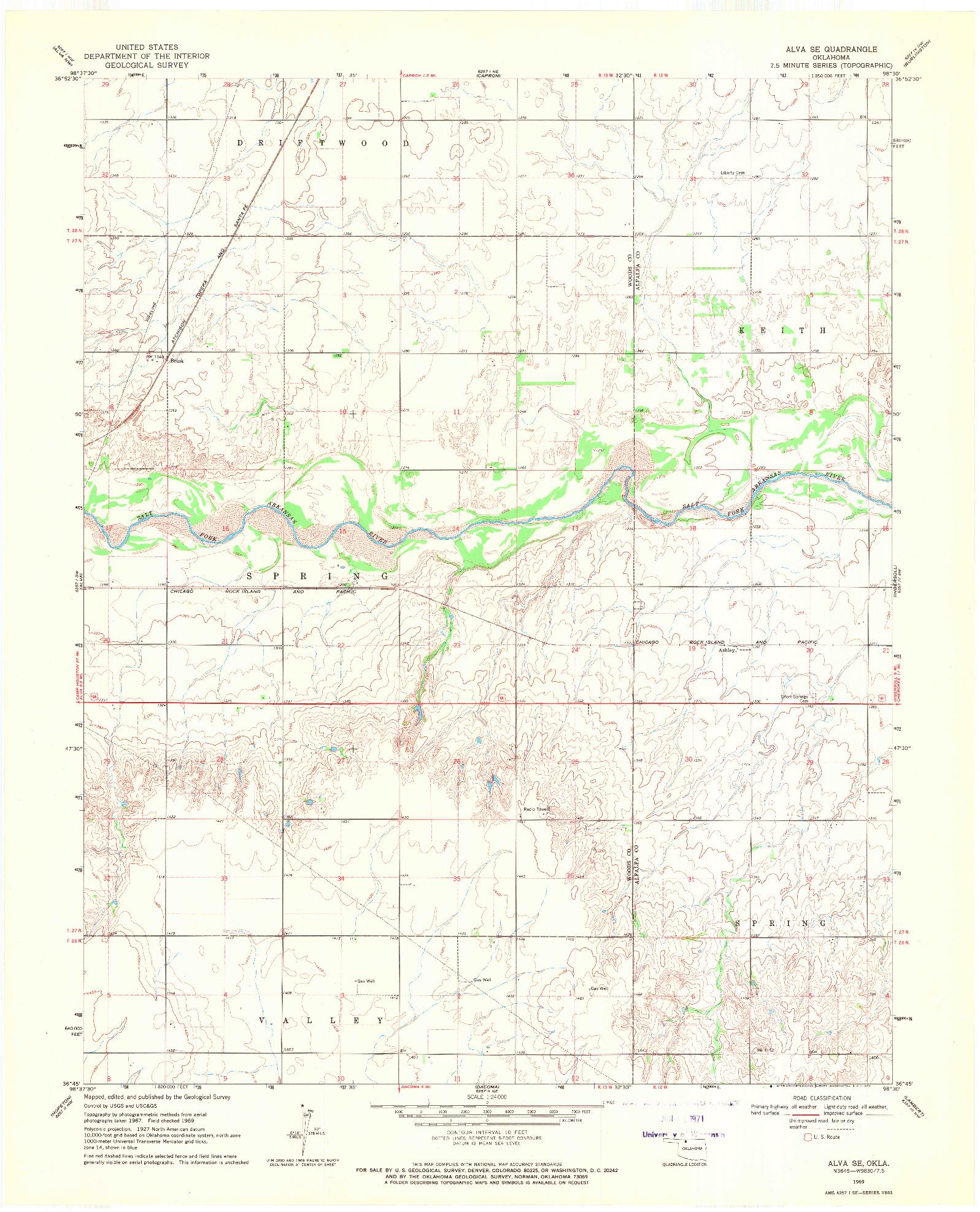 USGS 1:24000-SCALE QUADRANGLE FOR ALVA SE, OK 1969