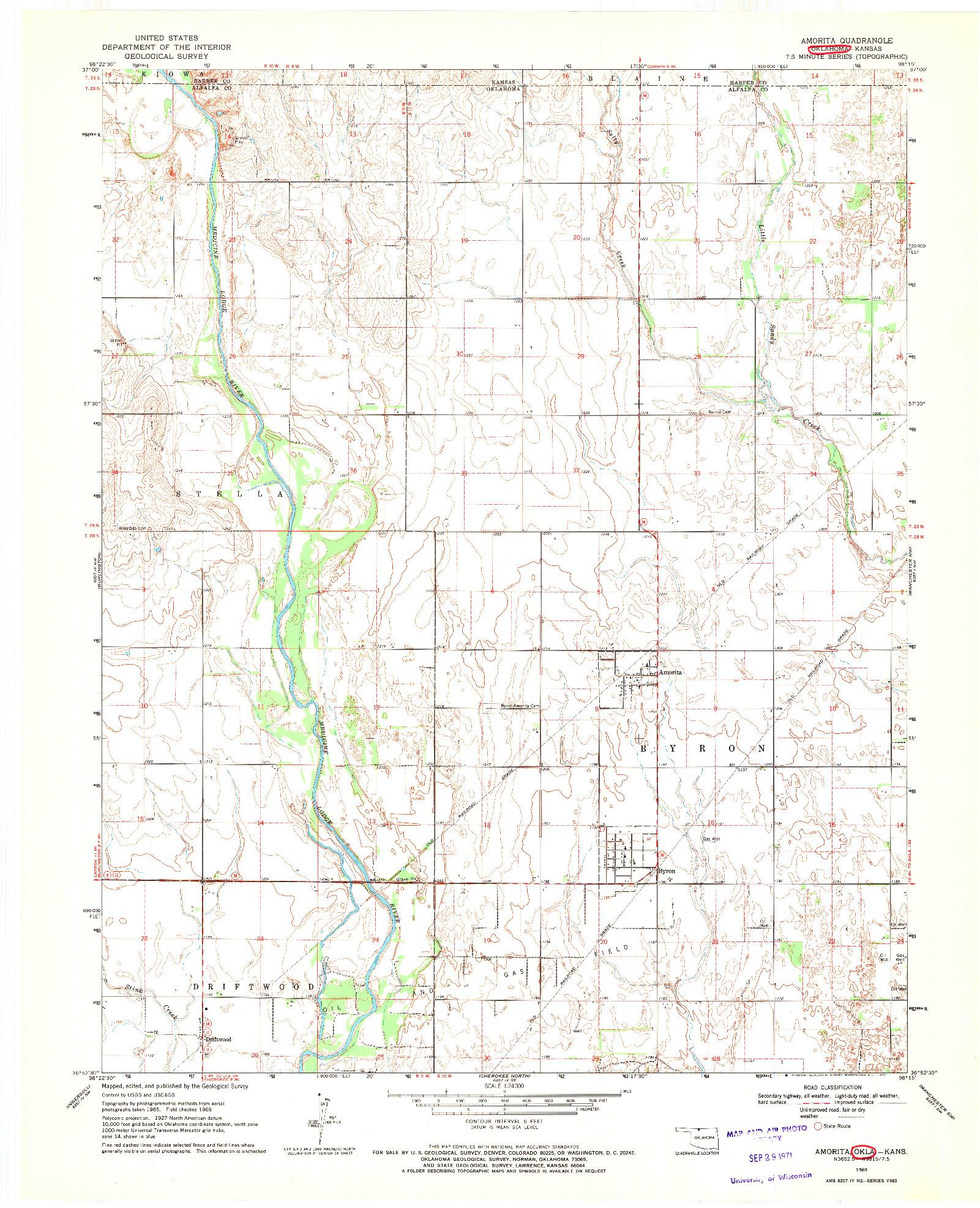 USGS 1:24000-SCALE QUADRANGLE FOR AMORITA, OK 1969