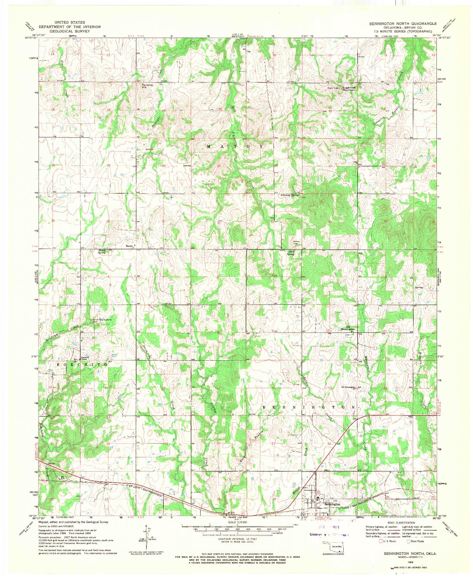 USGS 1:24000-SCALE QUADRANGLE FOR BENNINGTON NORTH, OK 1969
