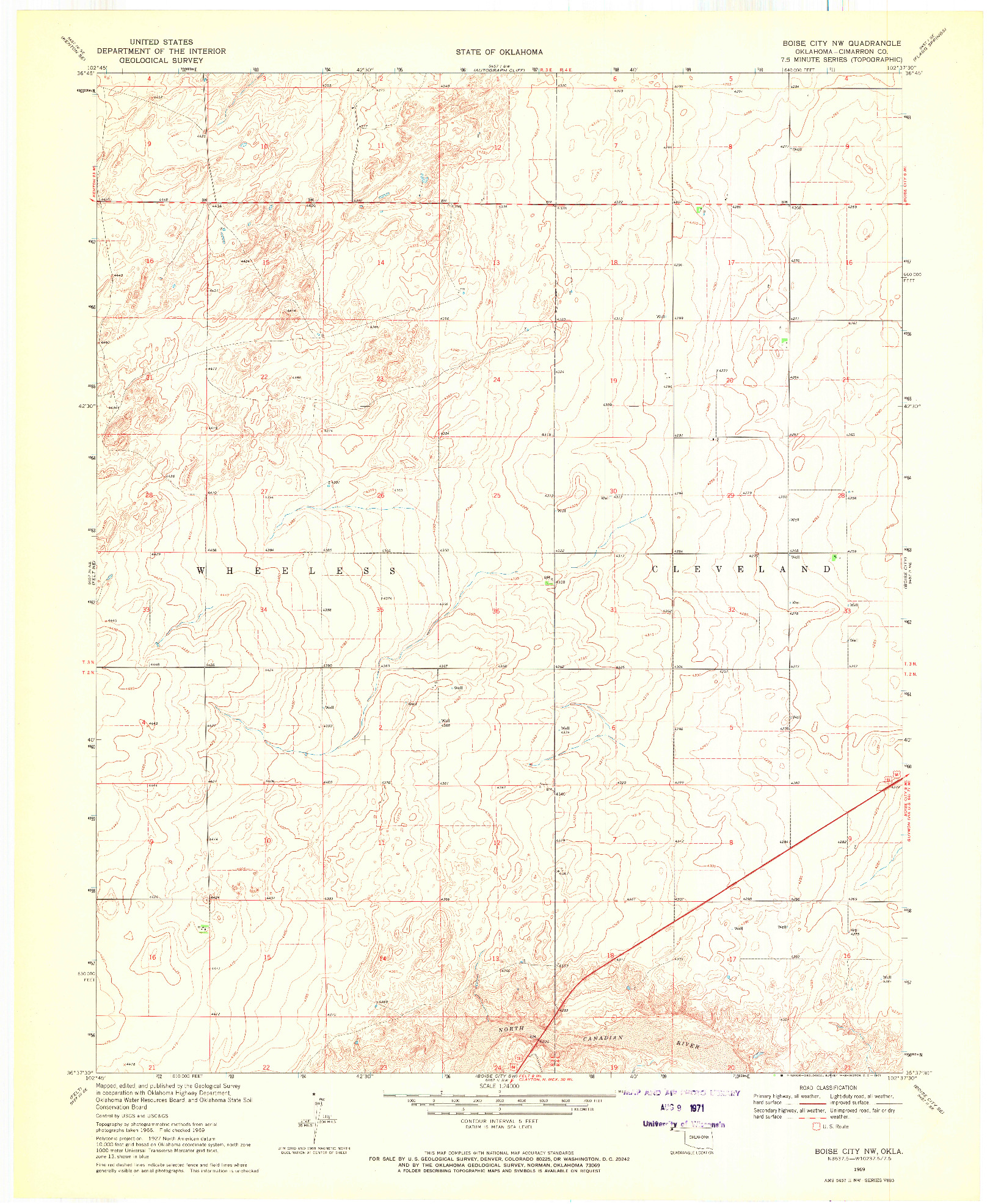 USGS 1:24000-SCALE QUADRANGLE FOR BOISE CITY NW, OK 1969