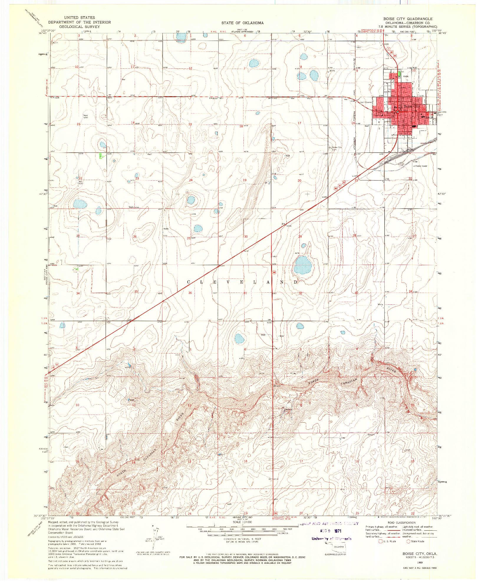 USGS 1:24000-SCALE QUADRANGLE FOR BOISE CITY, OK 1969