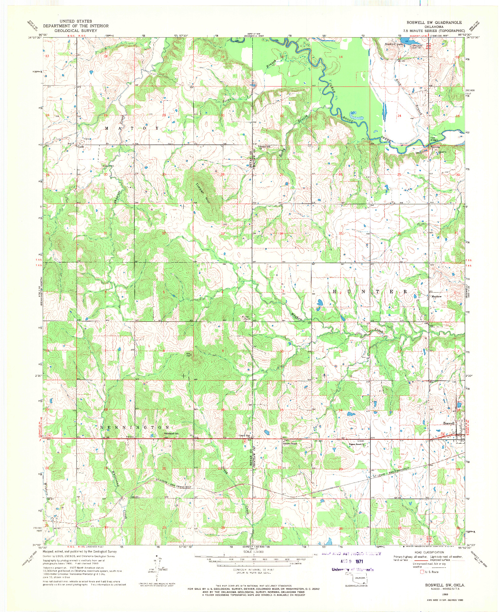 USGS 1:24000-SCALE QUADRANGLE FOR BOSWELL SW, OK 1969
