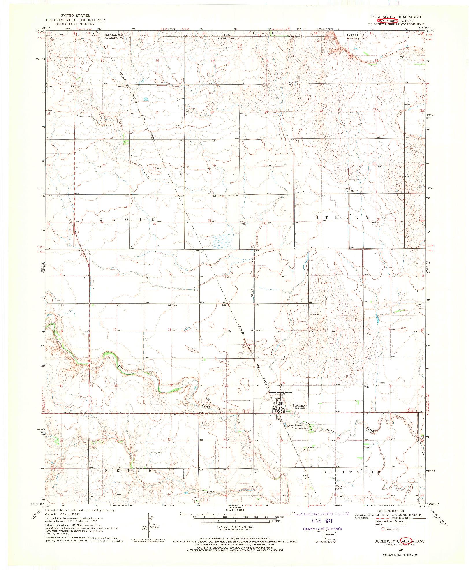 USGS 1:24000-SCALE QUADRANGLE FOR BURLINGTON, OK 1969