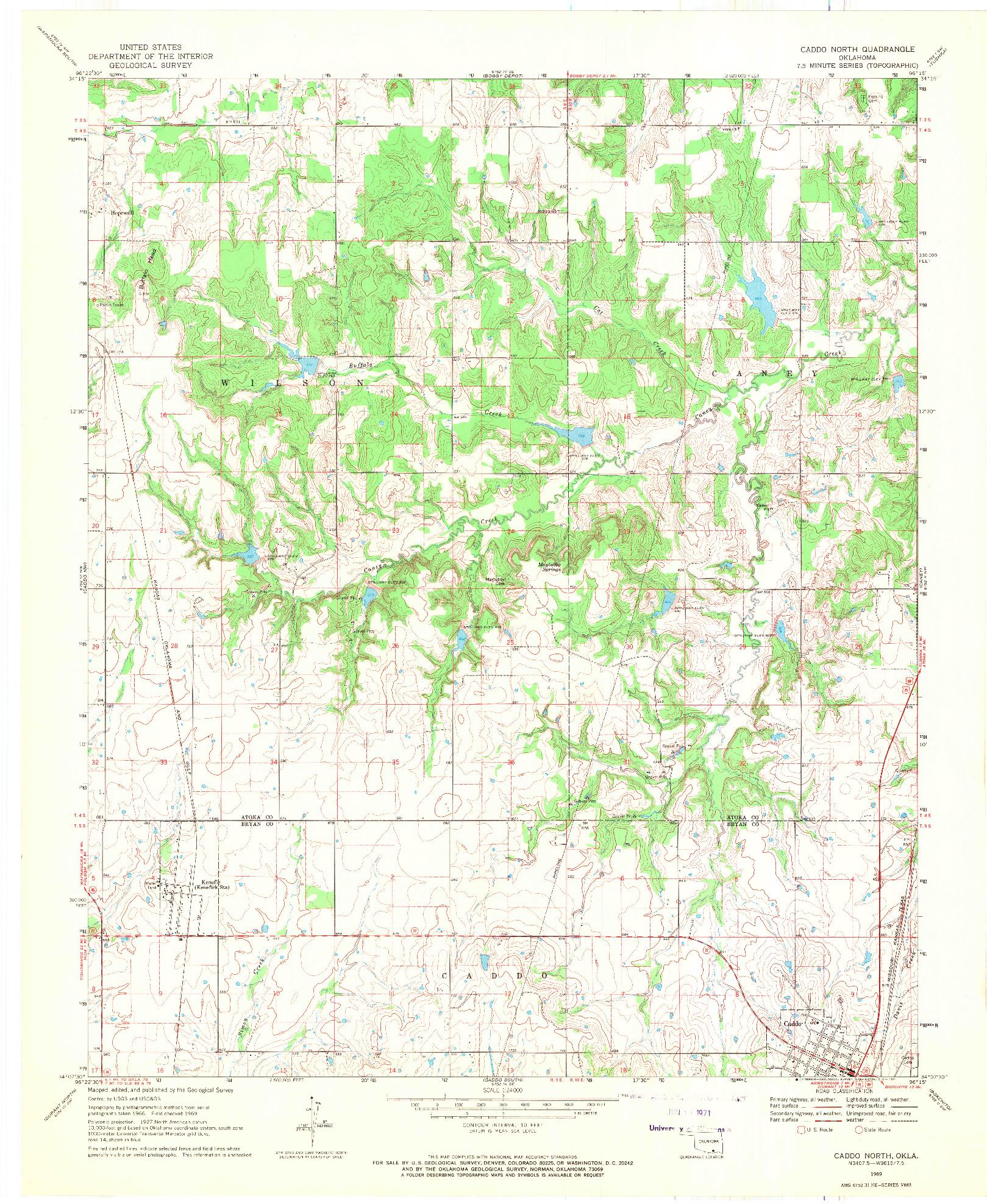 USGS 1:24000-SCALE QUADRANGLE FOR CADDO NORTH, OK 1969