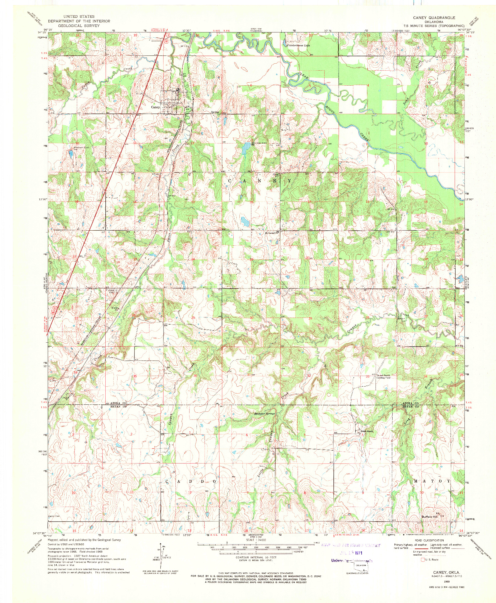 USGS 1:24000-SCALE QUADRANGLE FOR CANEY, OK 1969