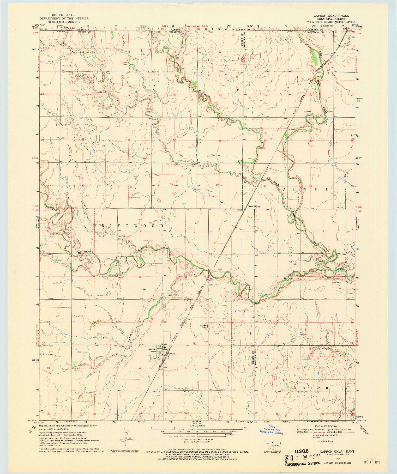 USGS 1:24000-SCALE QUADRANGLE FOR CAPRON, OK 1968