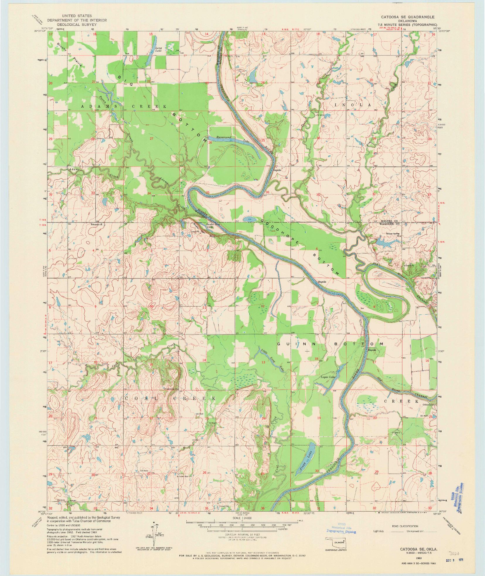 USGS 1:24000-SCALE QUADRANGLE FOR CATOOSA SE, OK 1963