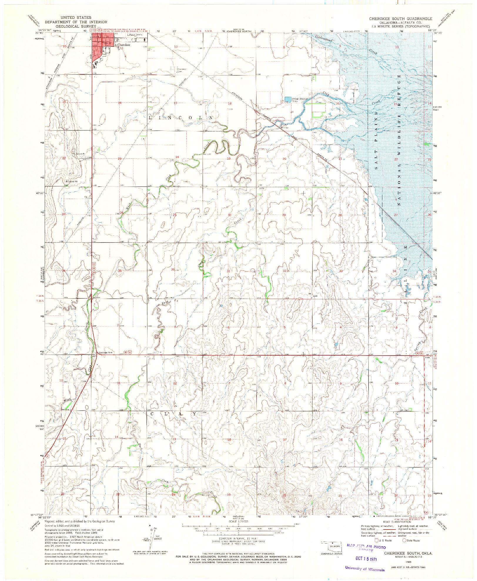 USGS 1:24000-SCALE QUADRANGLE FOR CHEROKEE SOUTH, OK 1969