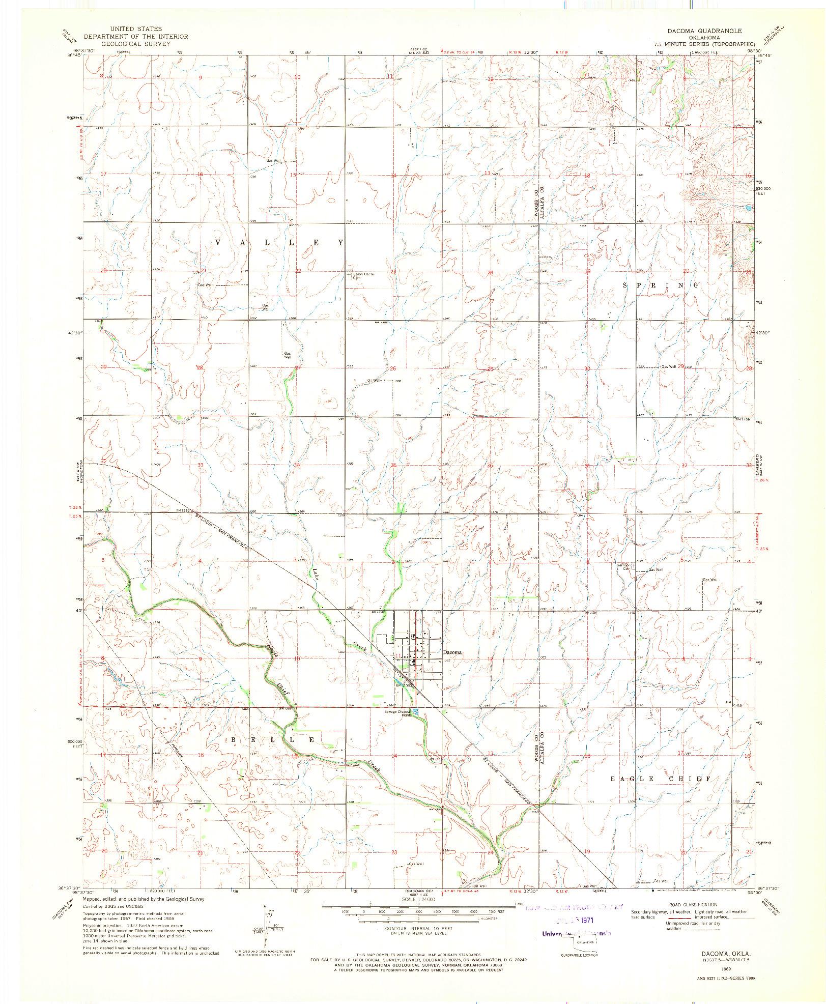 USGS 1:24000-SCALE QUADRANGLE FOR DACOMA, OK 1969