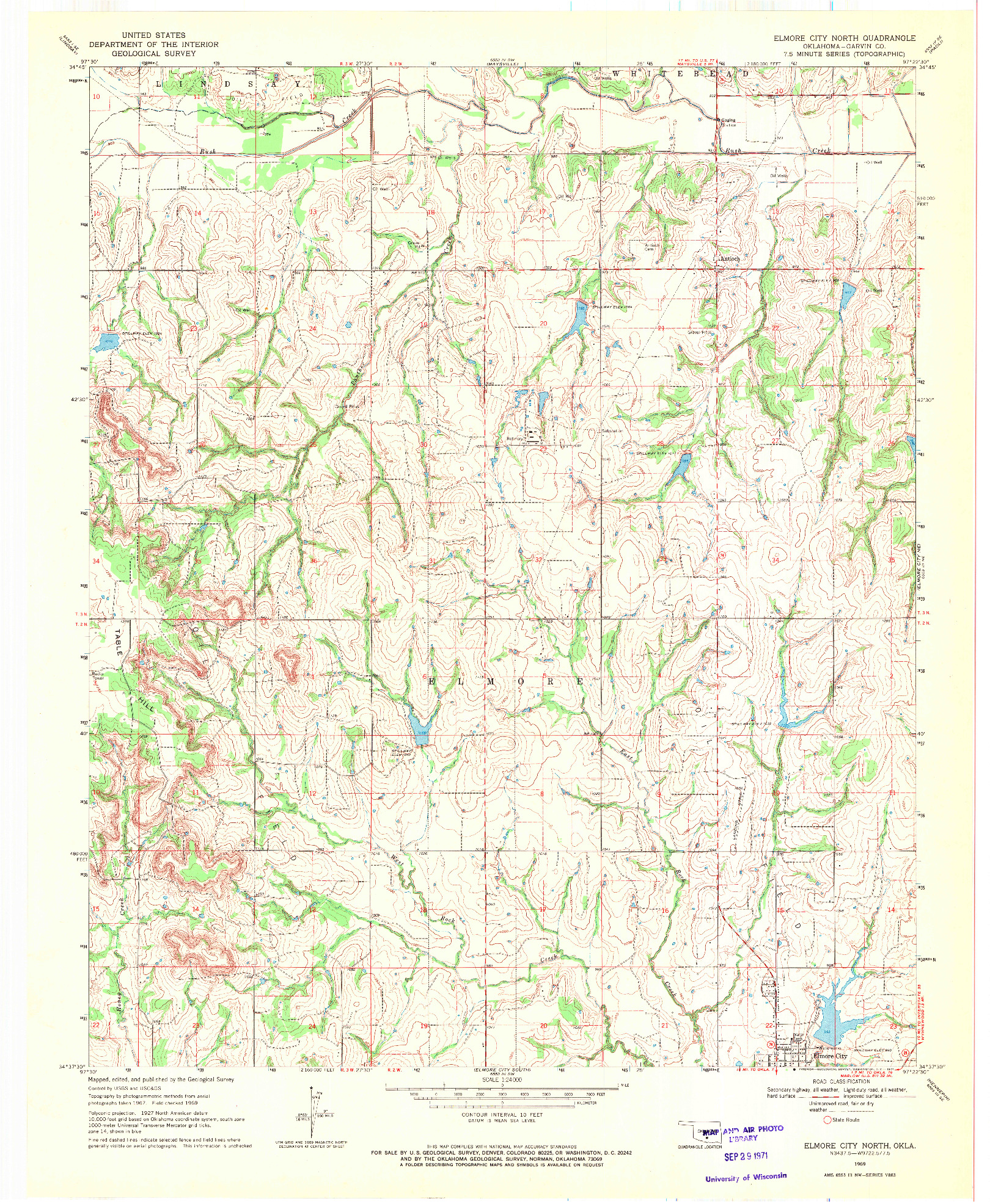 USGS 1:24000-SCALE QUADRANGLE FOR ELMORE CITY NORTH, OK 1969