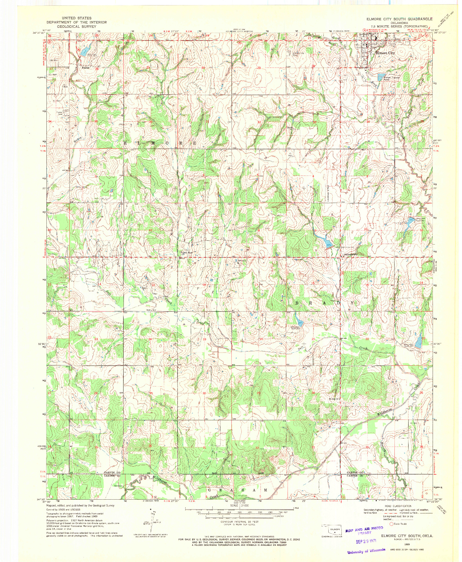 USGS 1:24000-SCALE QUADRANGLE FOR ELMORE CITY SOUTH, OK 1969