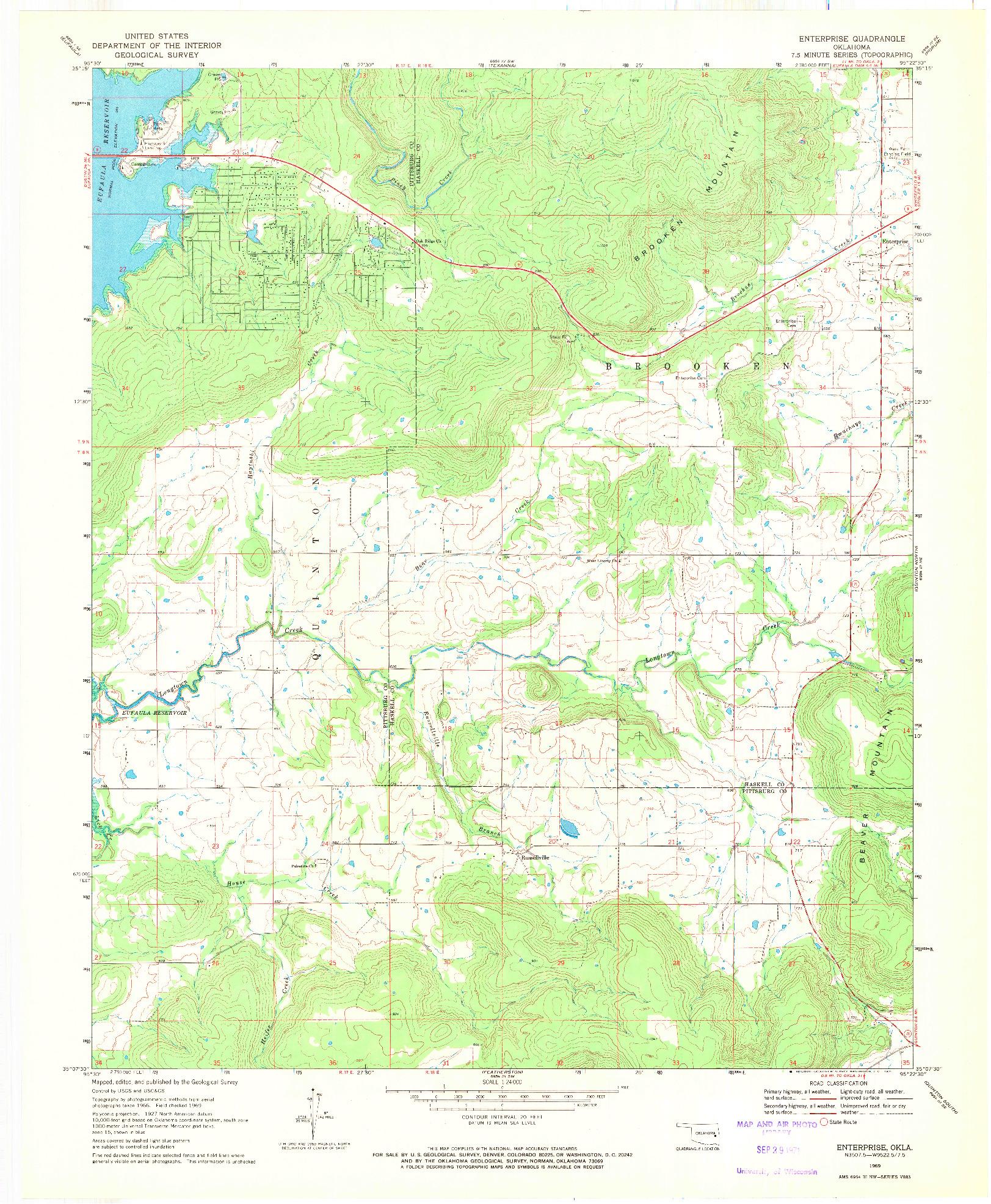 USGS 1:24000-SCALE QUADRANGLE FOR ENTERPRISE, OK 1969