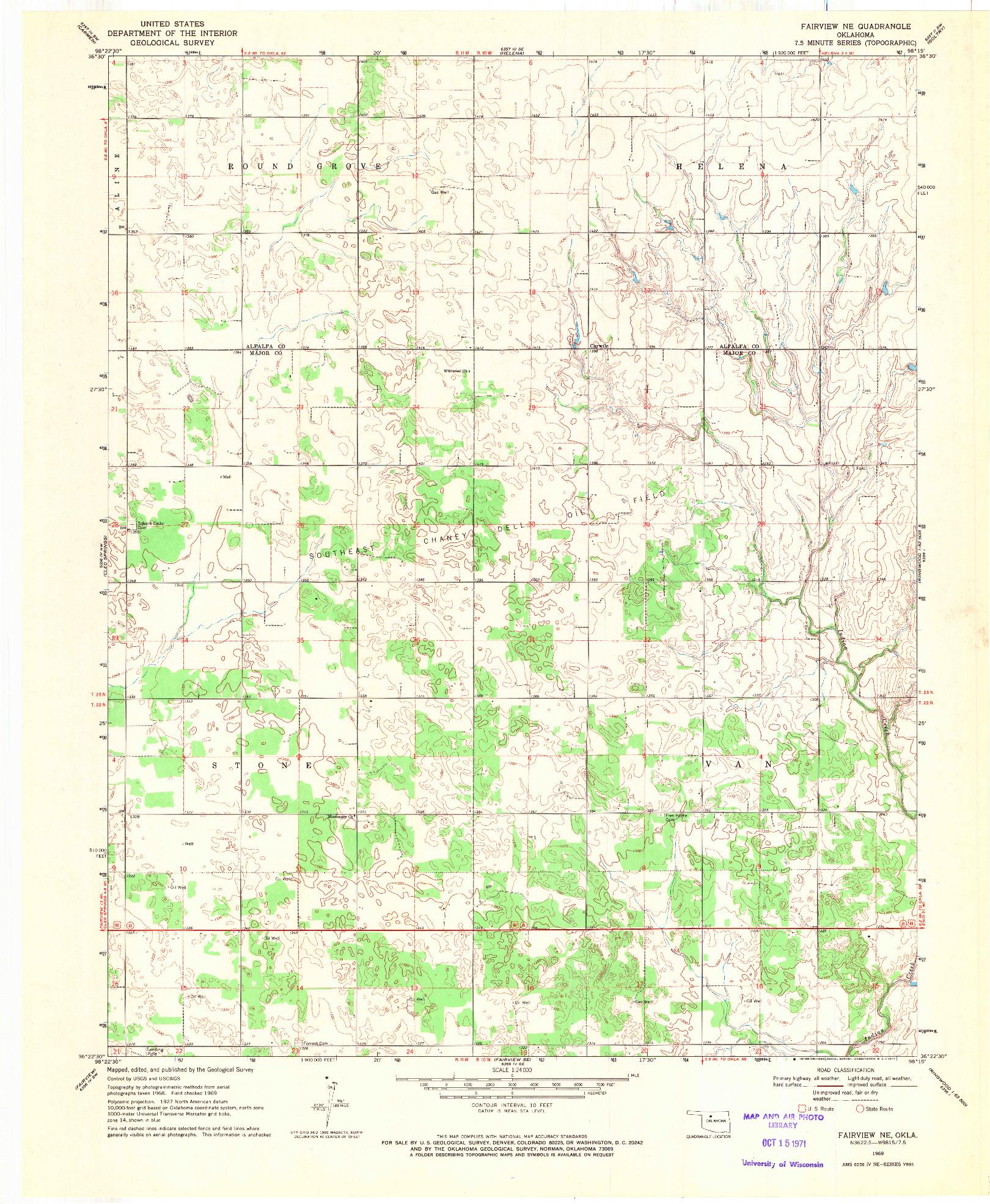 USGS 1:24000-SCALE QUADRANGLE FOR FAIRVIEW NE, OK 1969