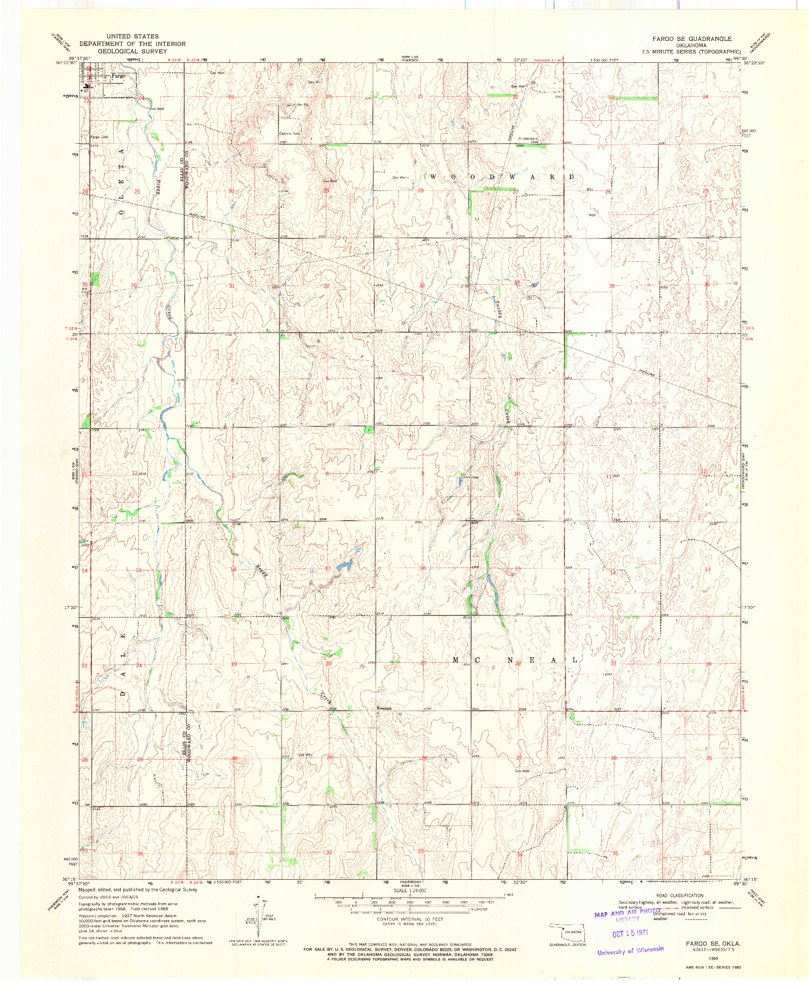 USGS 1:24000-SCALE QUADRANGLE FOR FARGO SE, OK 1969