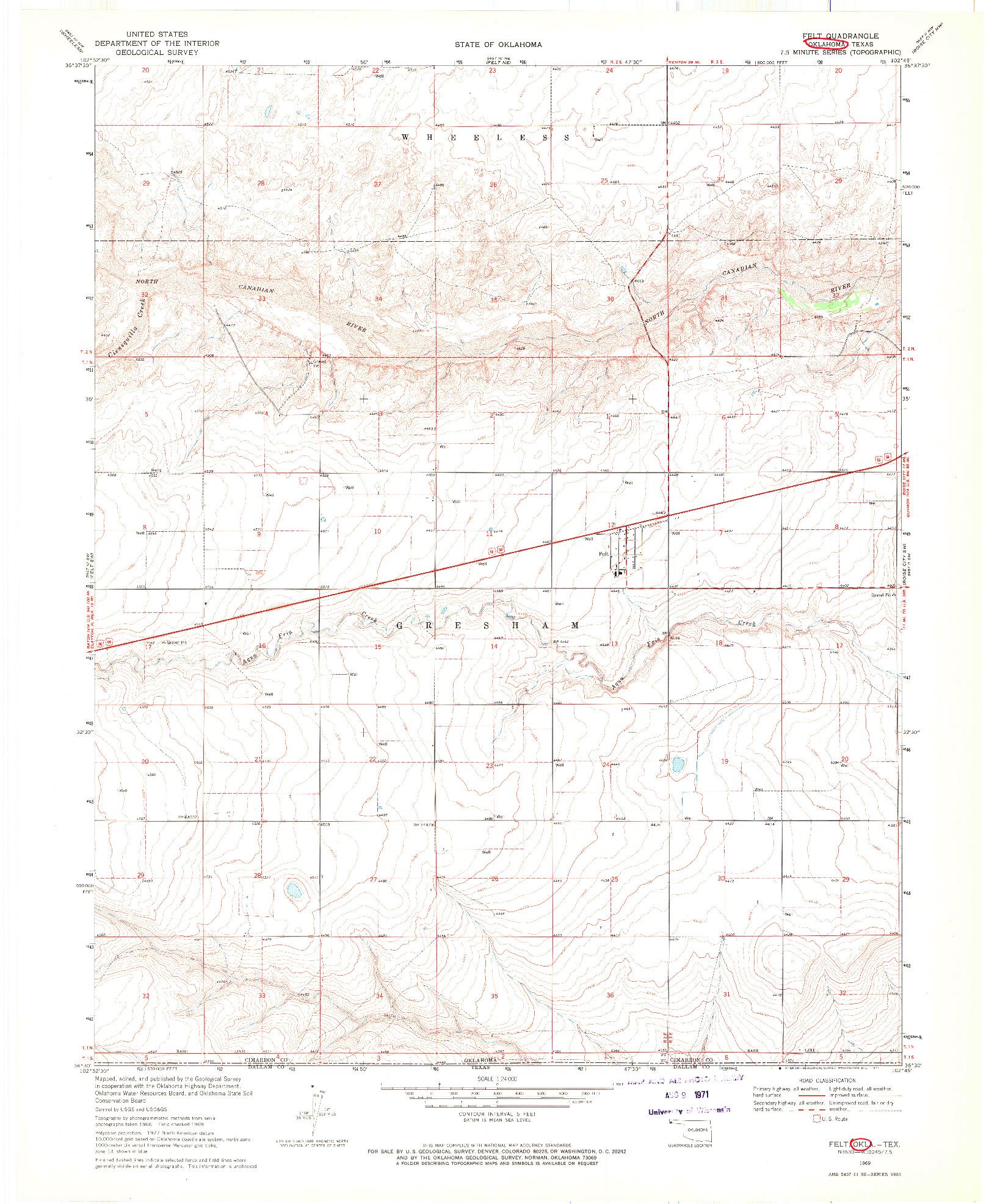USGS 1:24000-SCALE QUADRANGLE FOR FELT, OK 1969