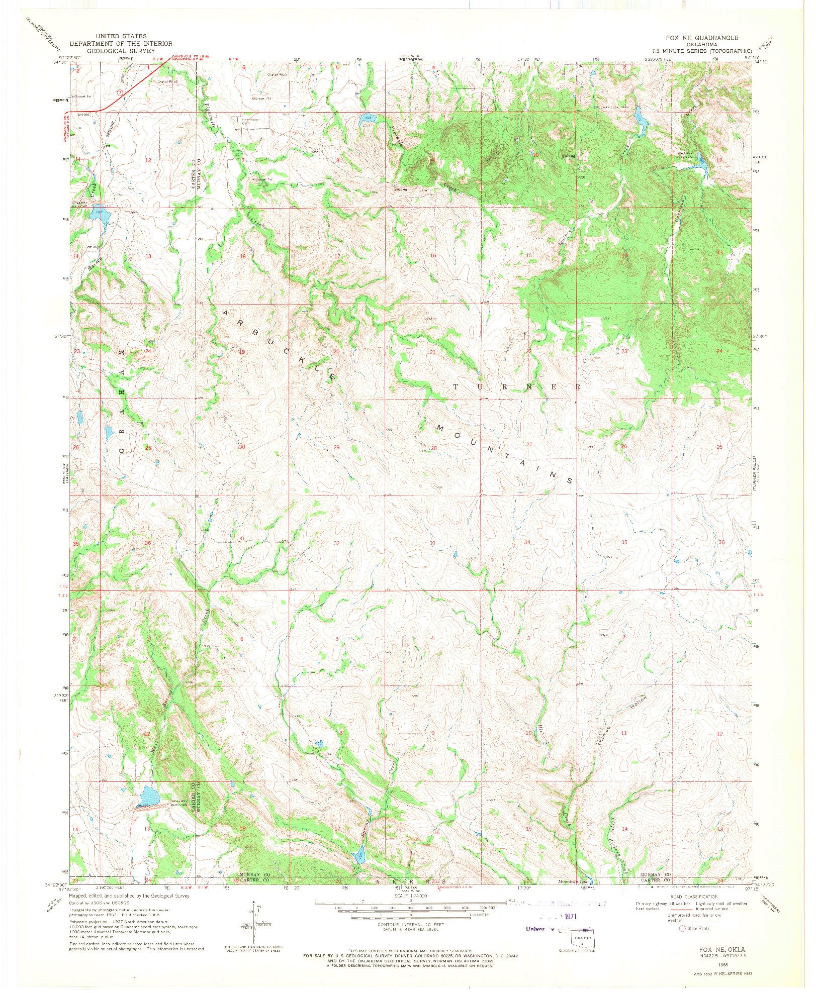 USGS 1:24000-SCALE QUADRANGLE FOR FOX NE, OK 1968