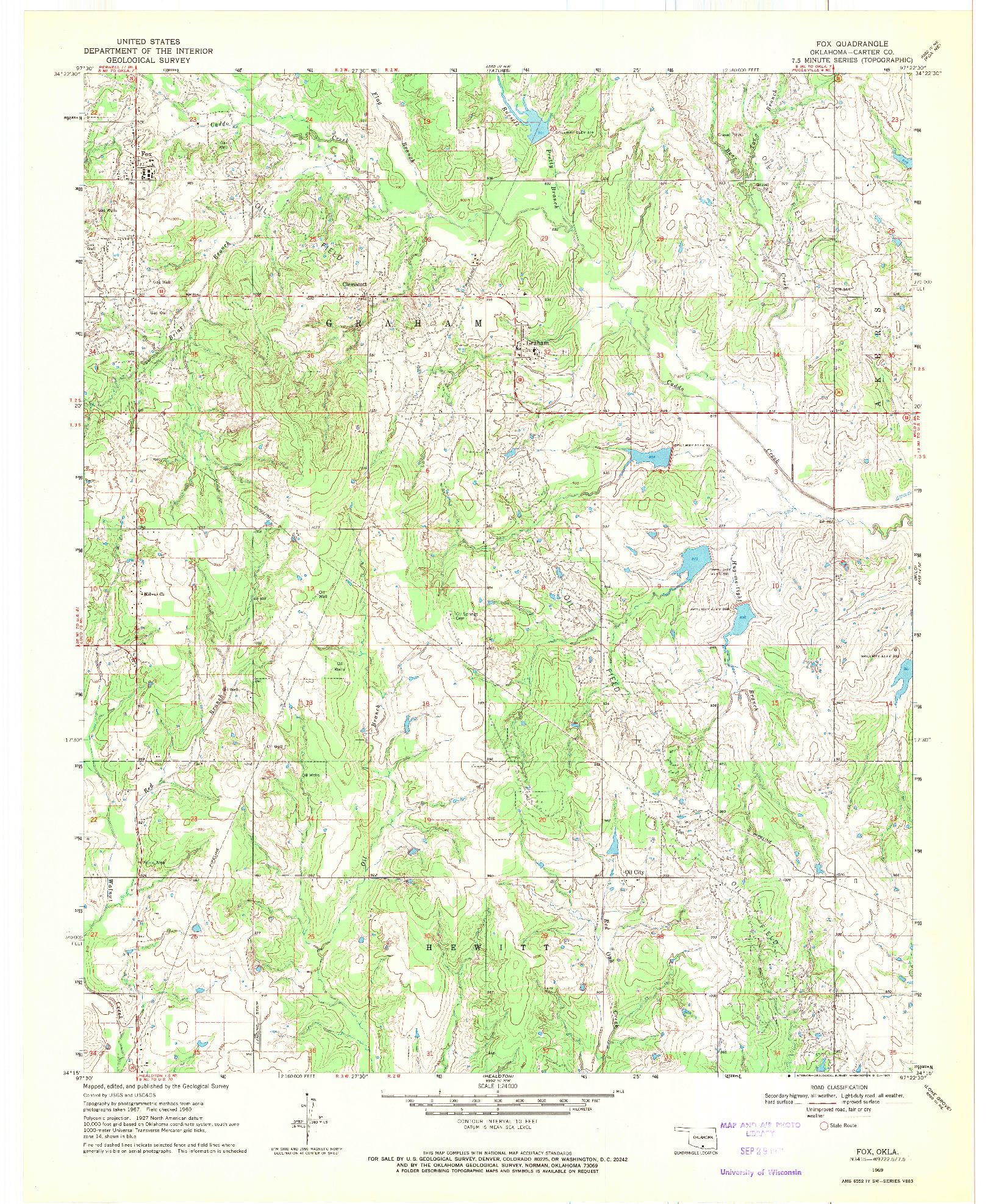 USGS 1:24000-SCALE QUADRANGLE FOR FOX, OK 1969