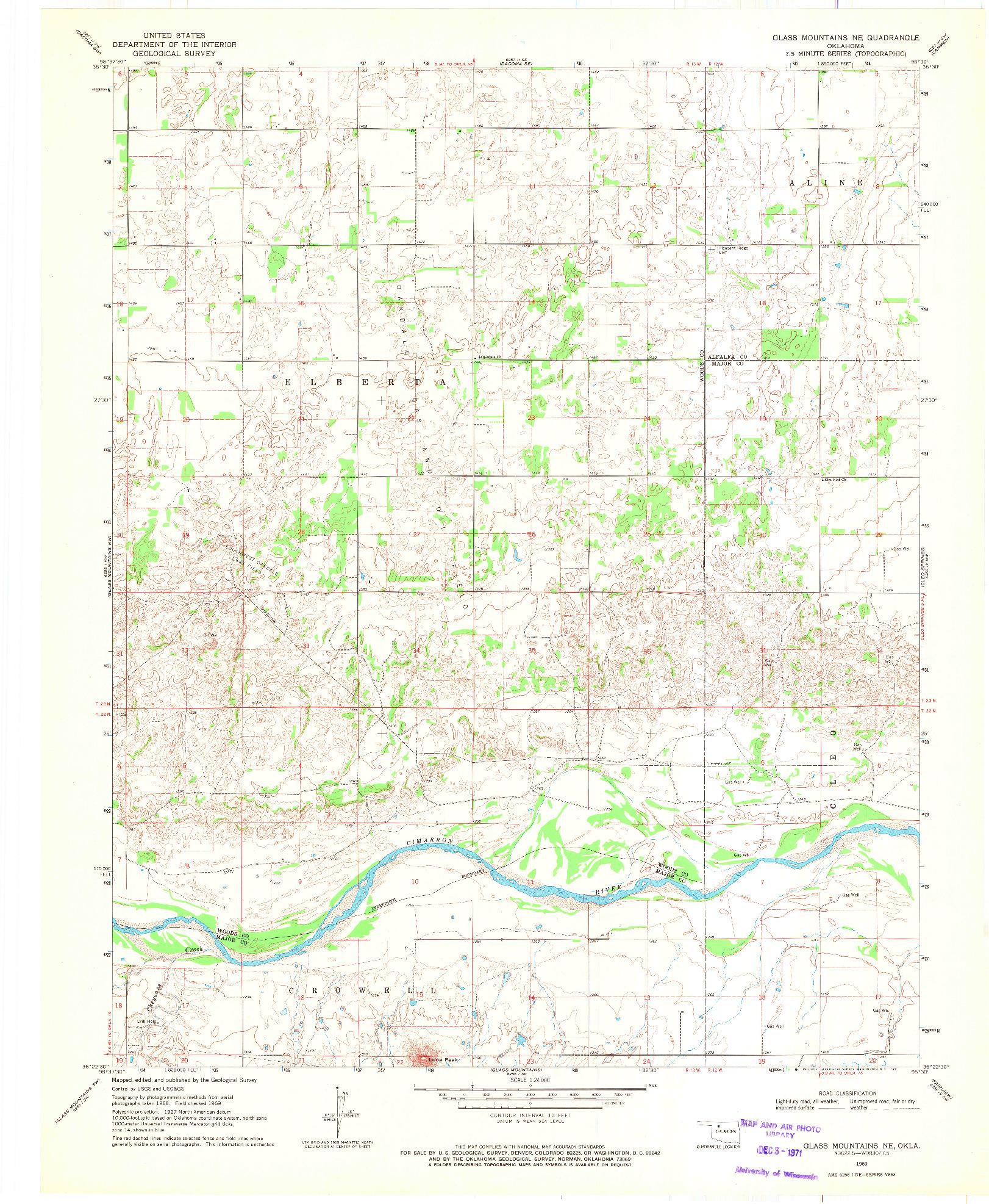 USGS 1:24000-SCALE QUADRANGLE FOR GLASS MOUNTAINS NE, OK 1969