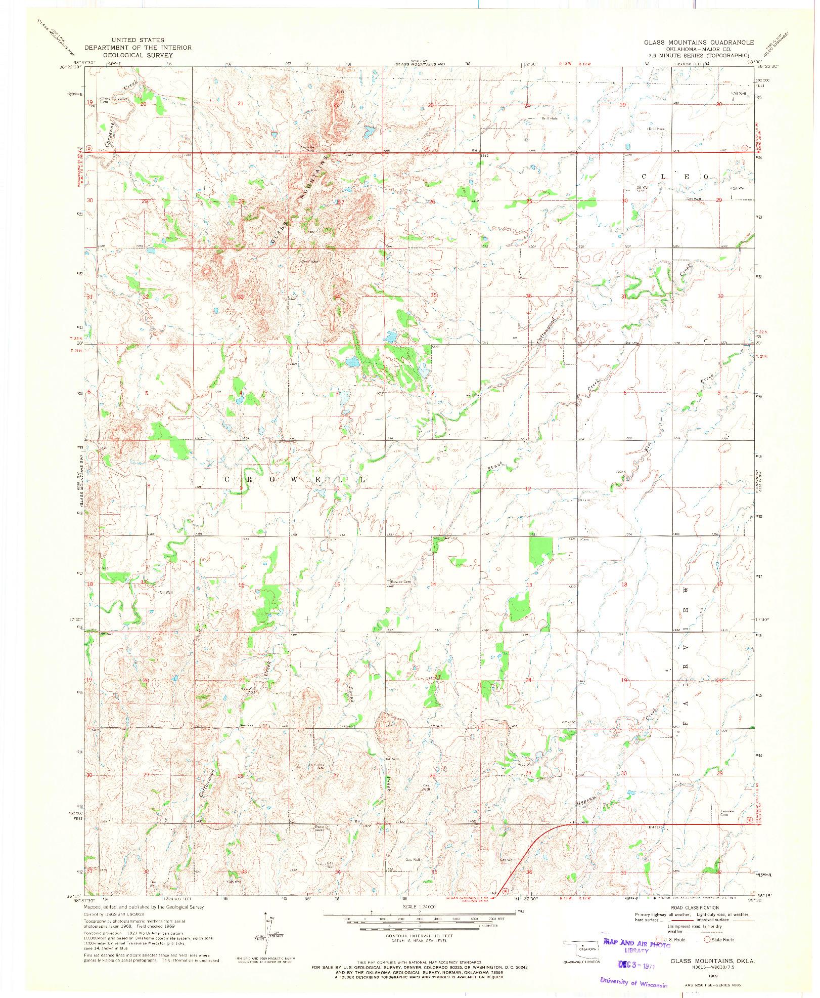 USGS 1:24000-SCALE QUADRANGLE FOR GLASS MOUNTAINS, OK 1969