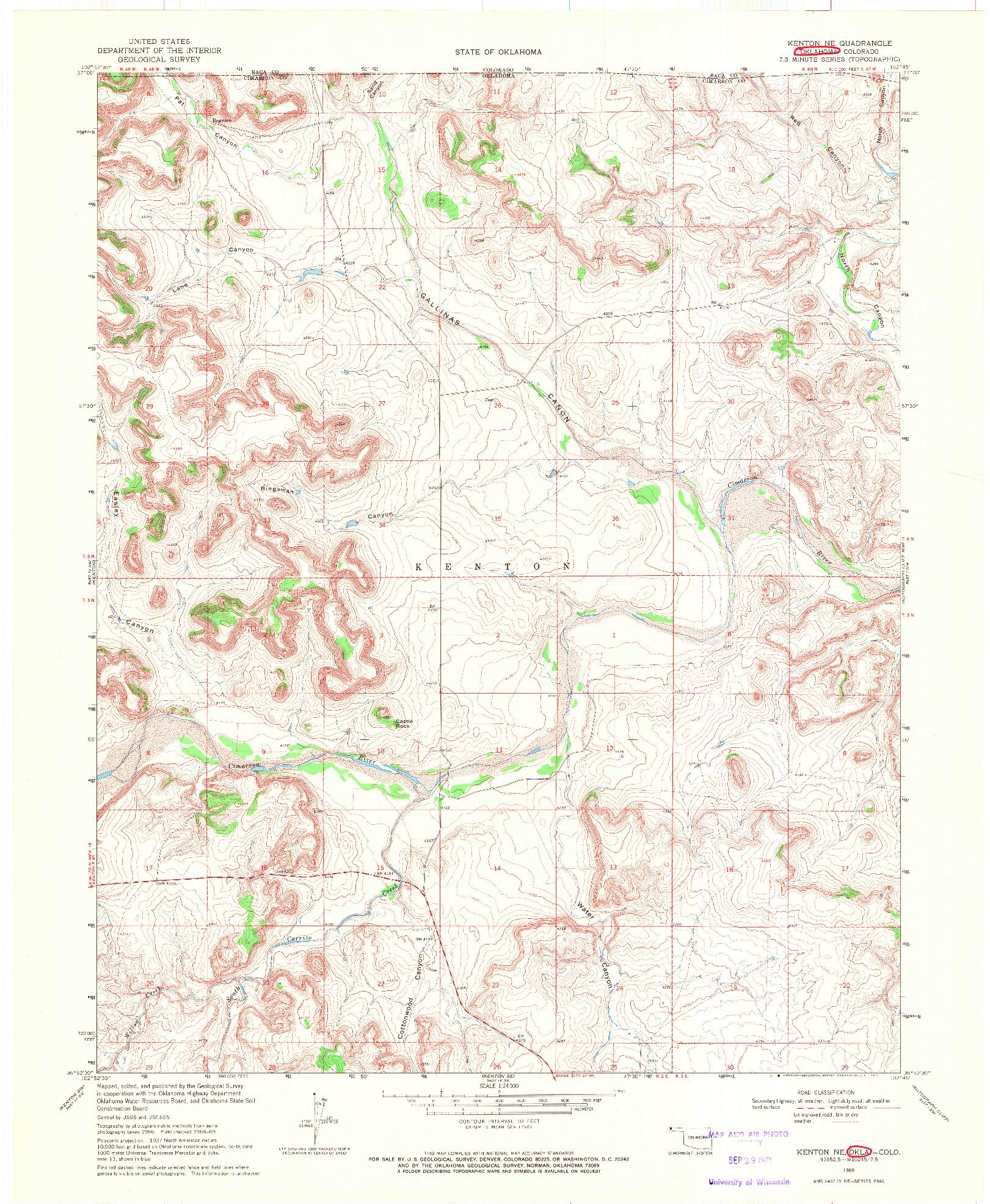 USGS 1:24000-SCALE QUADRANGLE FOR KENTON NE, OK 1969