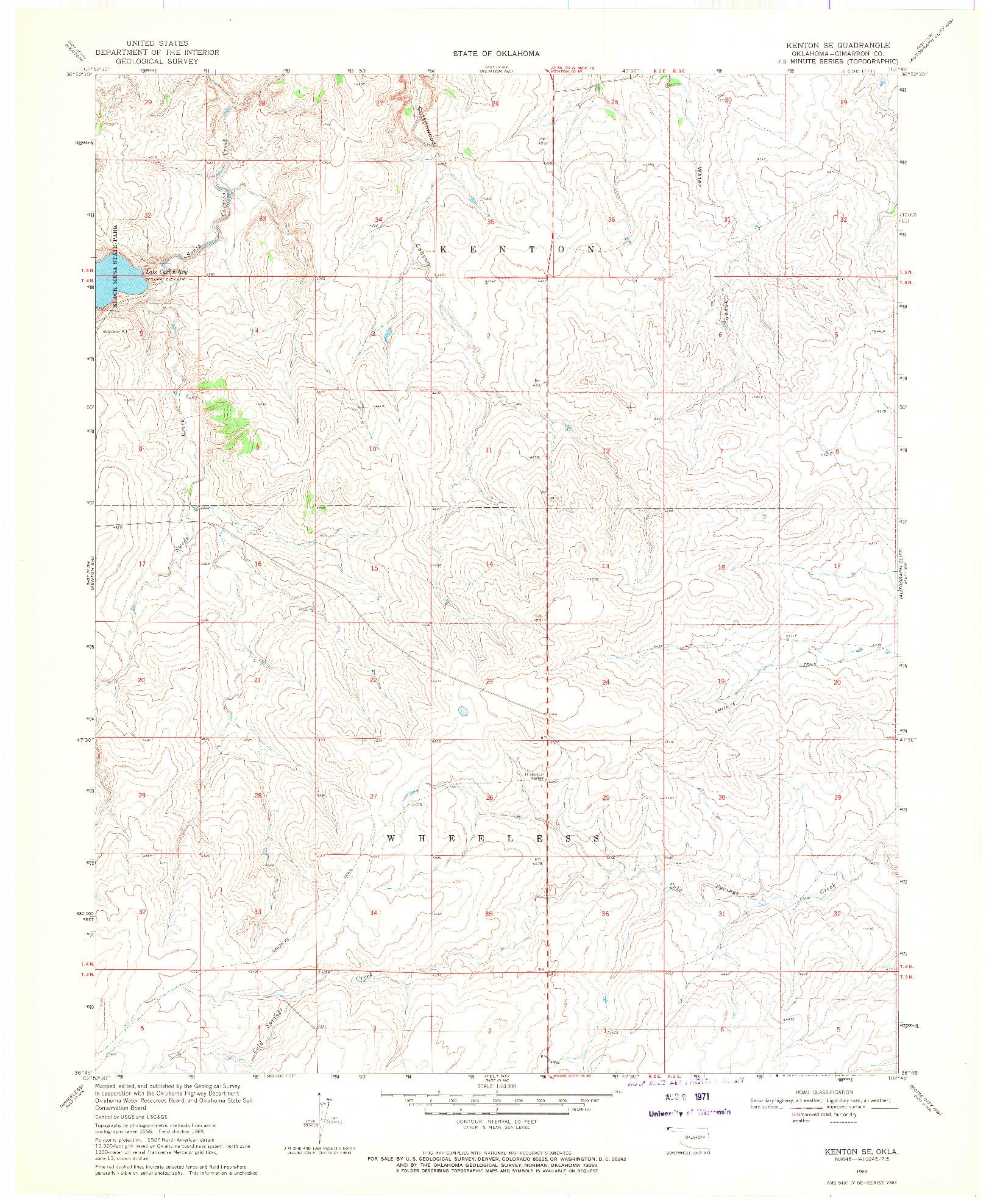 USGS 1:24000-SCALE QUADRANGLE FOR KENTON SE, OK 1969
