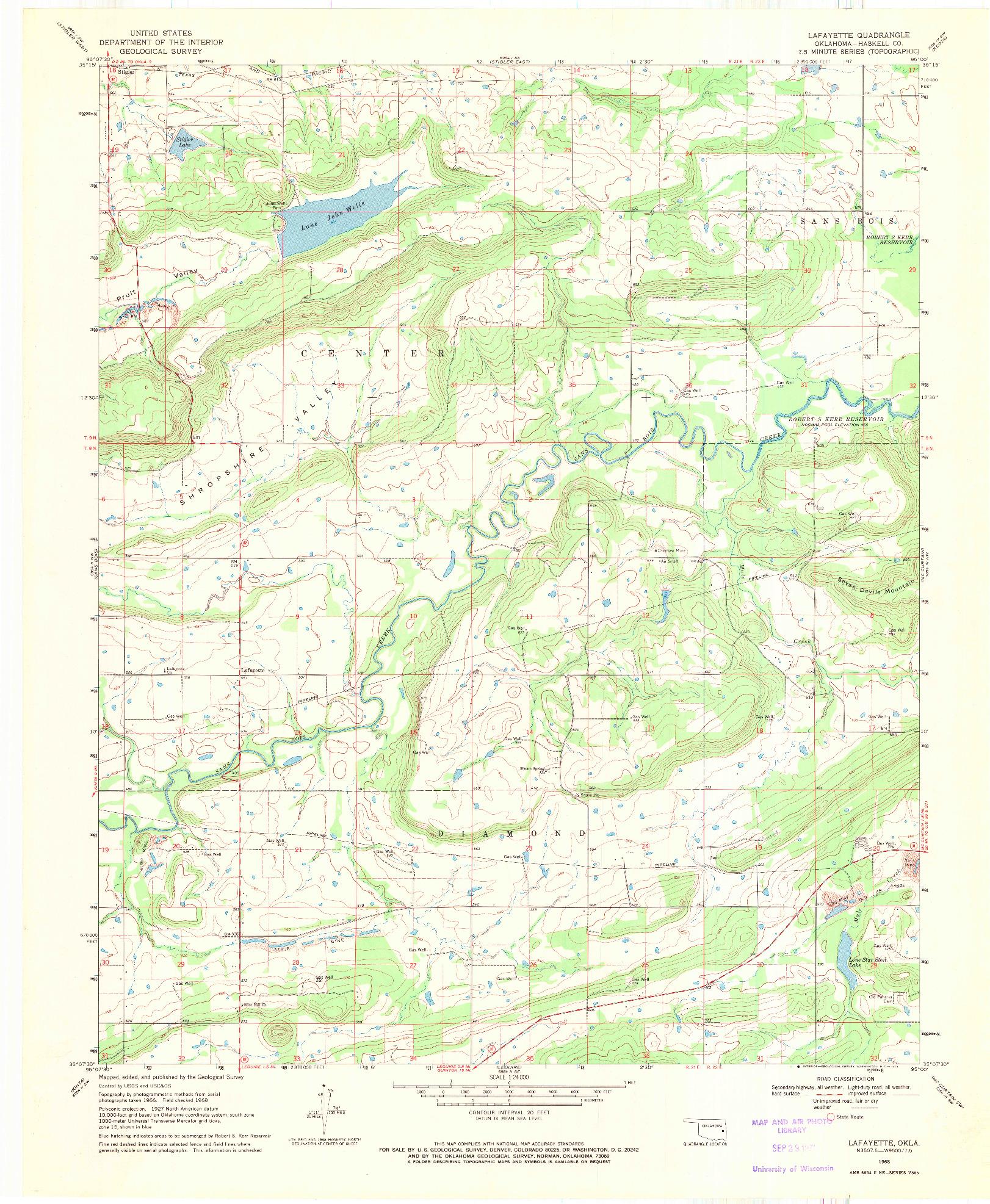 USGS 1:24000-SCALE QUADRANGLE FOR LAFAYETTE, OK 1968