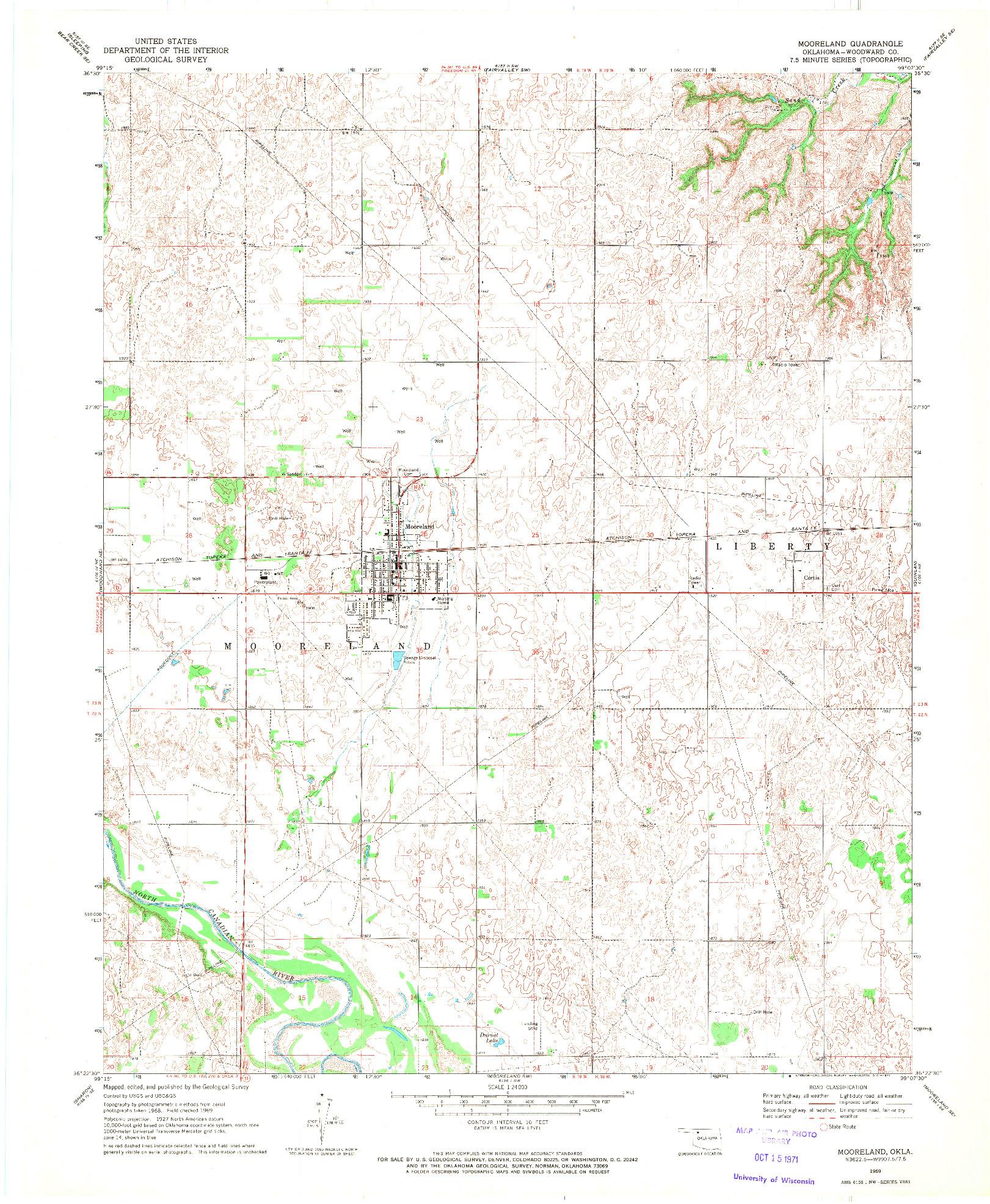 USGS 1:24000-SCALE QUADRANGLE FOR MOORELAND, OK 1969