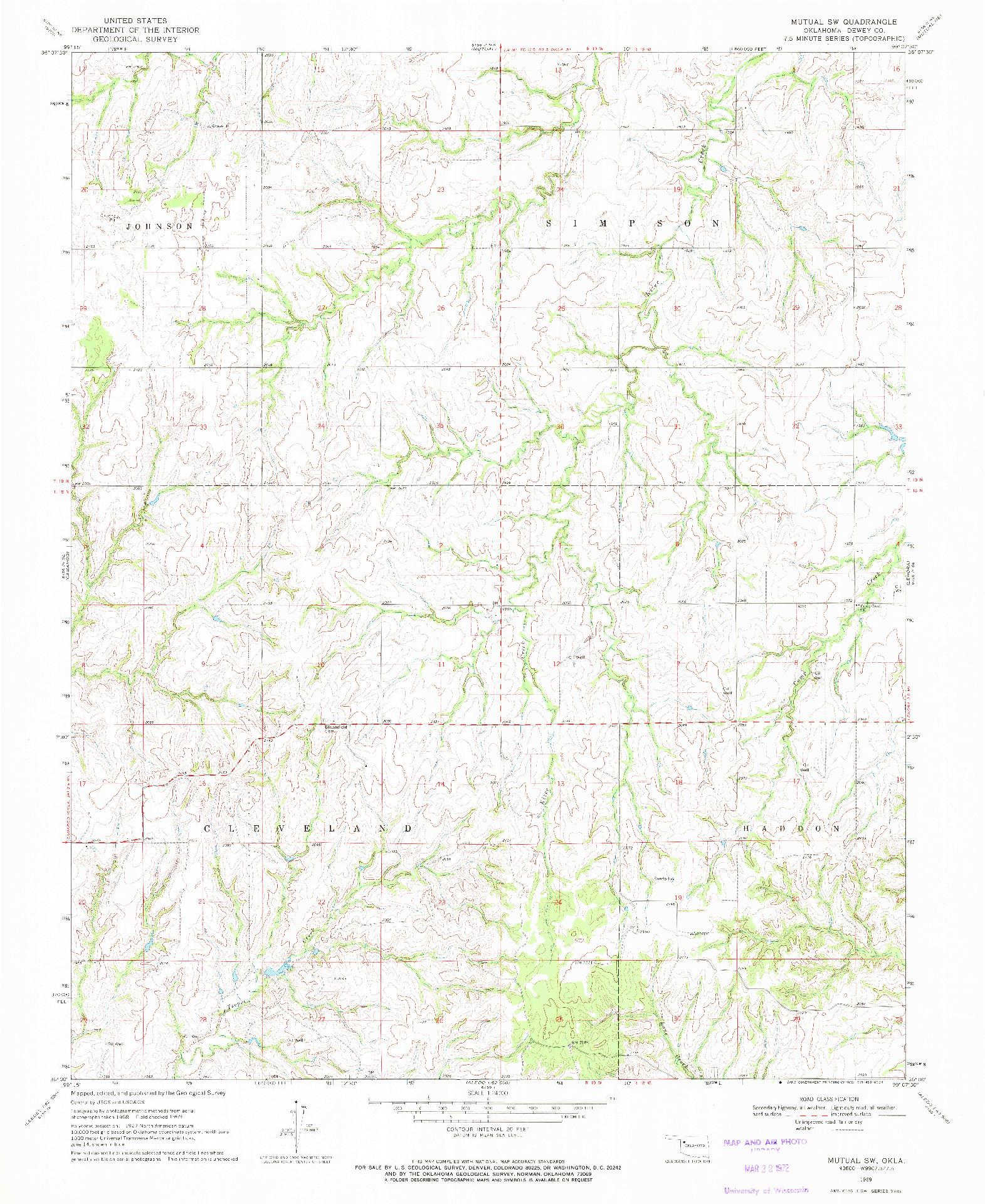 USGS 1:24000-SCALE QUADRANGLE FOR MUTUAL SW, OK 1969