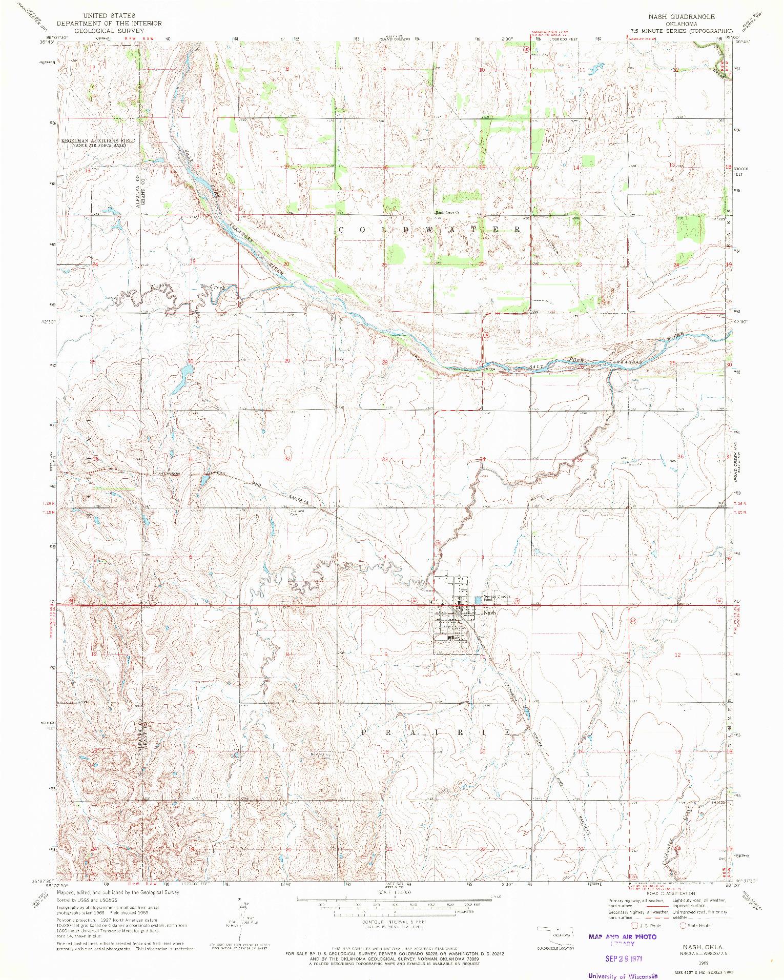 USGS 1:24000-SCALE QUADRANGLE FOR NASH, OK 1969