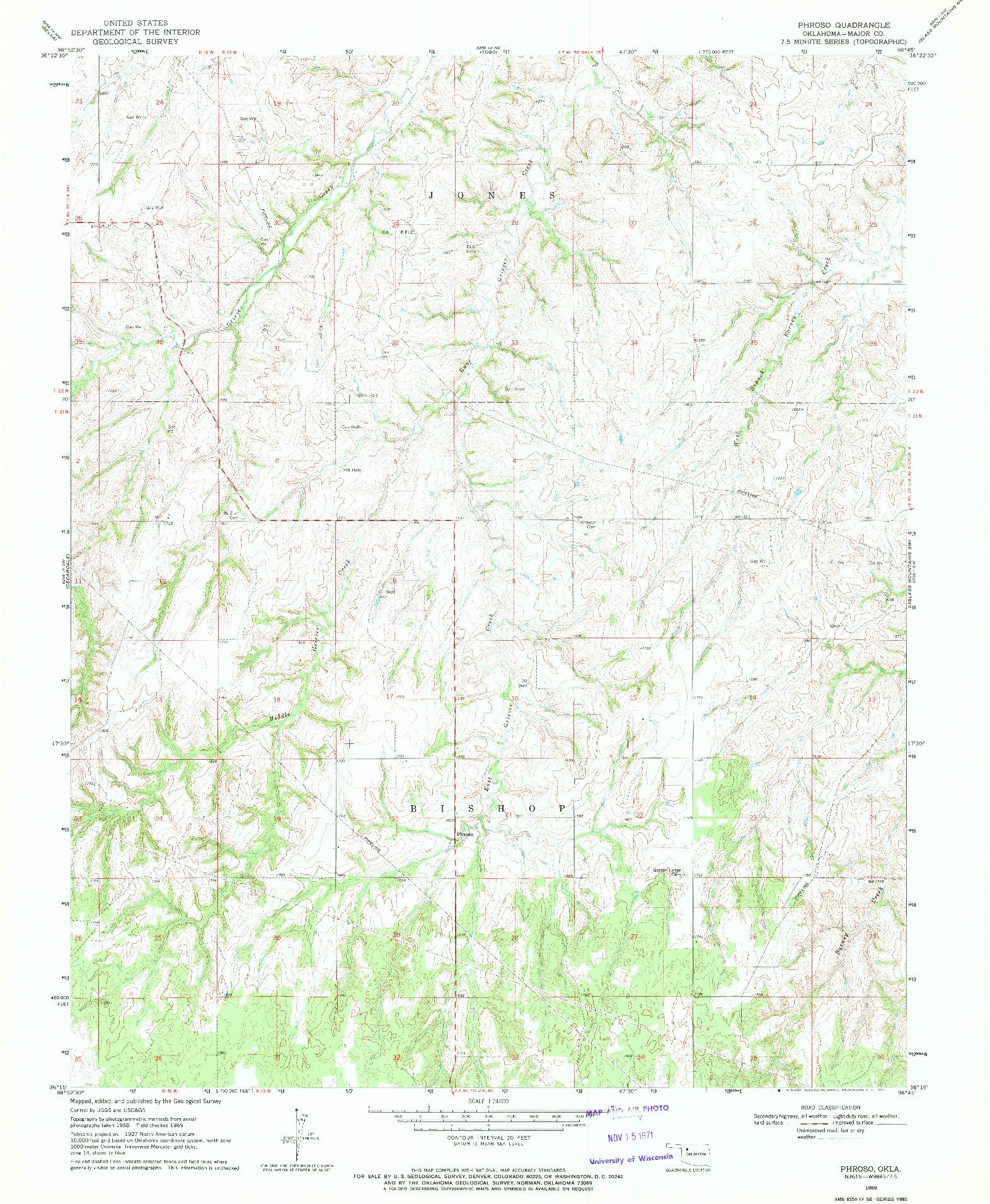USGS 1:24000-SCALE QUADRANGLE FOR PHROSO, OK 1969