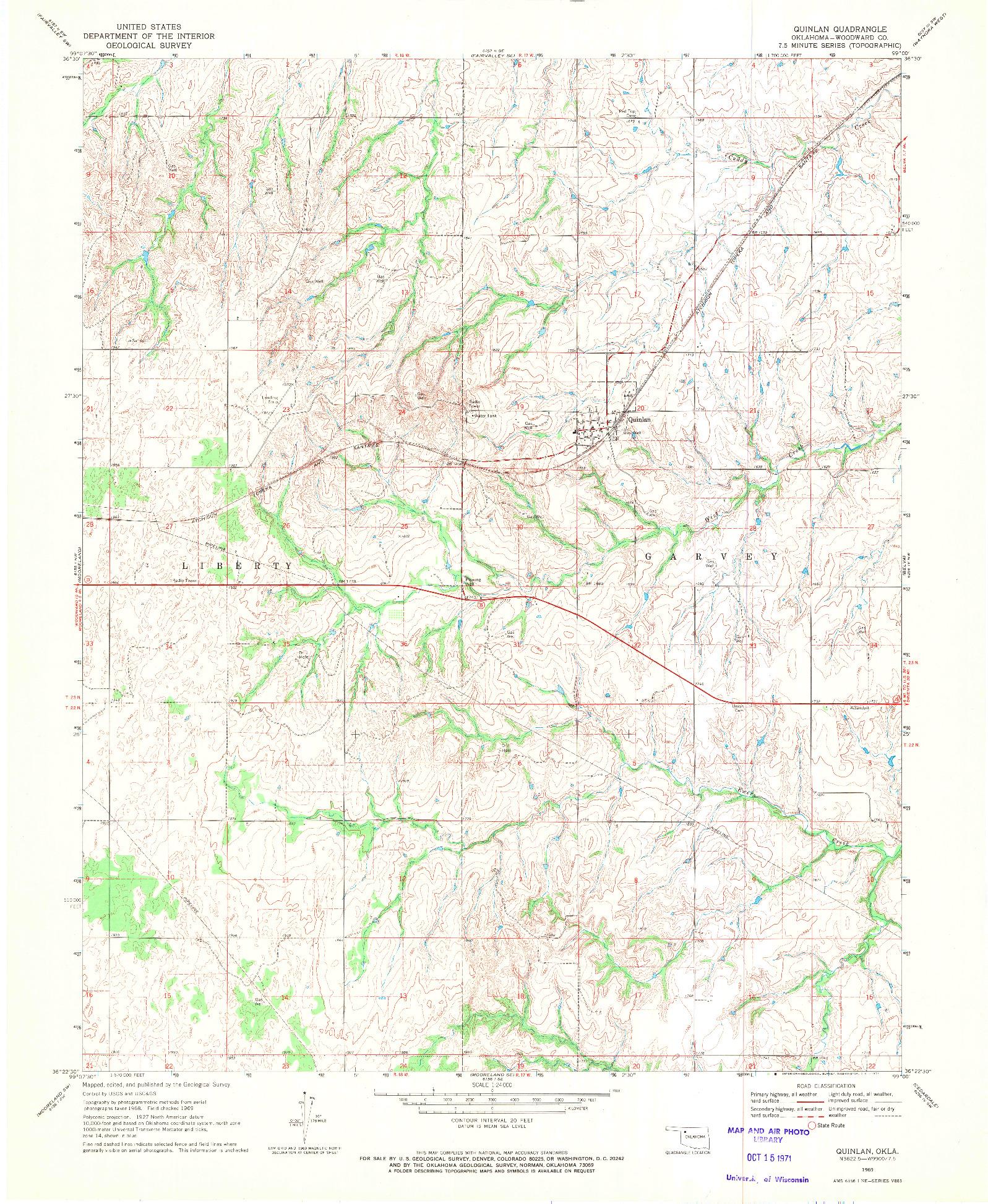 USGS 1:24000-SCALE QUADRANGLE FOR QUINLAN, OK 1969