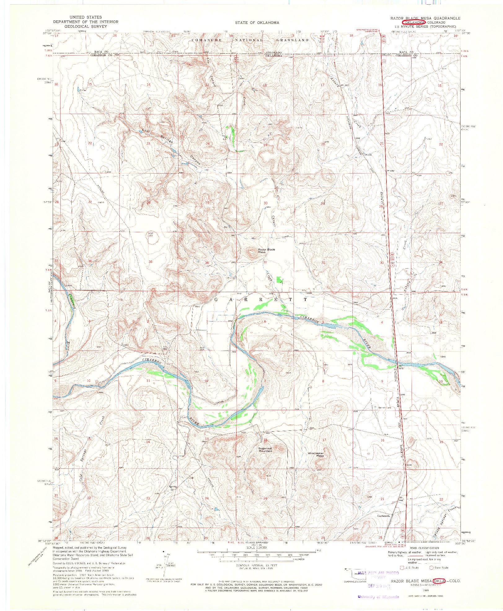 USGS 1:24000-SCALE QUADRANGLE FOR RAZOR BLADE MESA, OK 1969