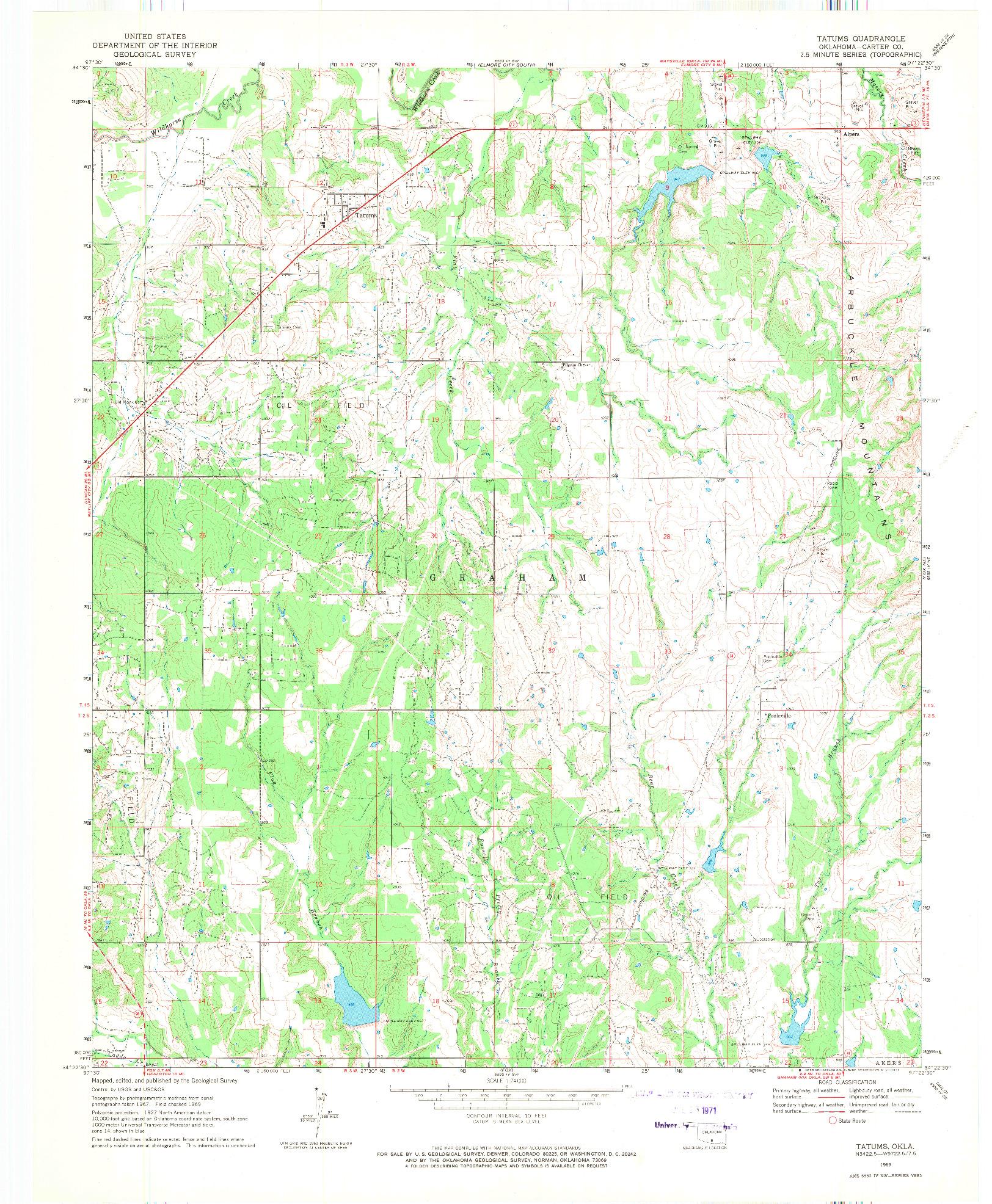 USGS 1:24000-SCALE QUADRANGLE FOR TATUMS, OK 1969