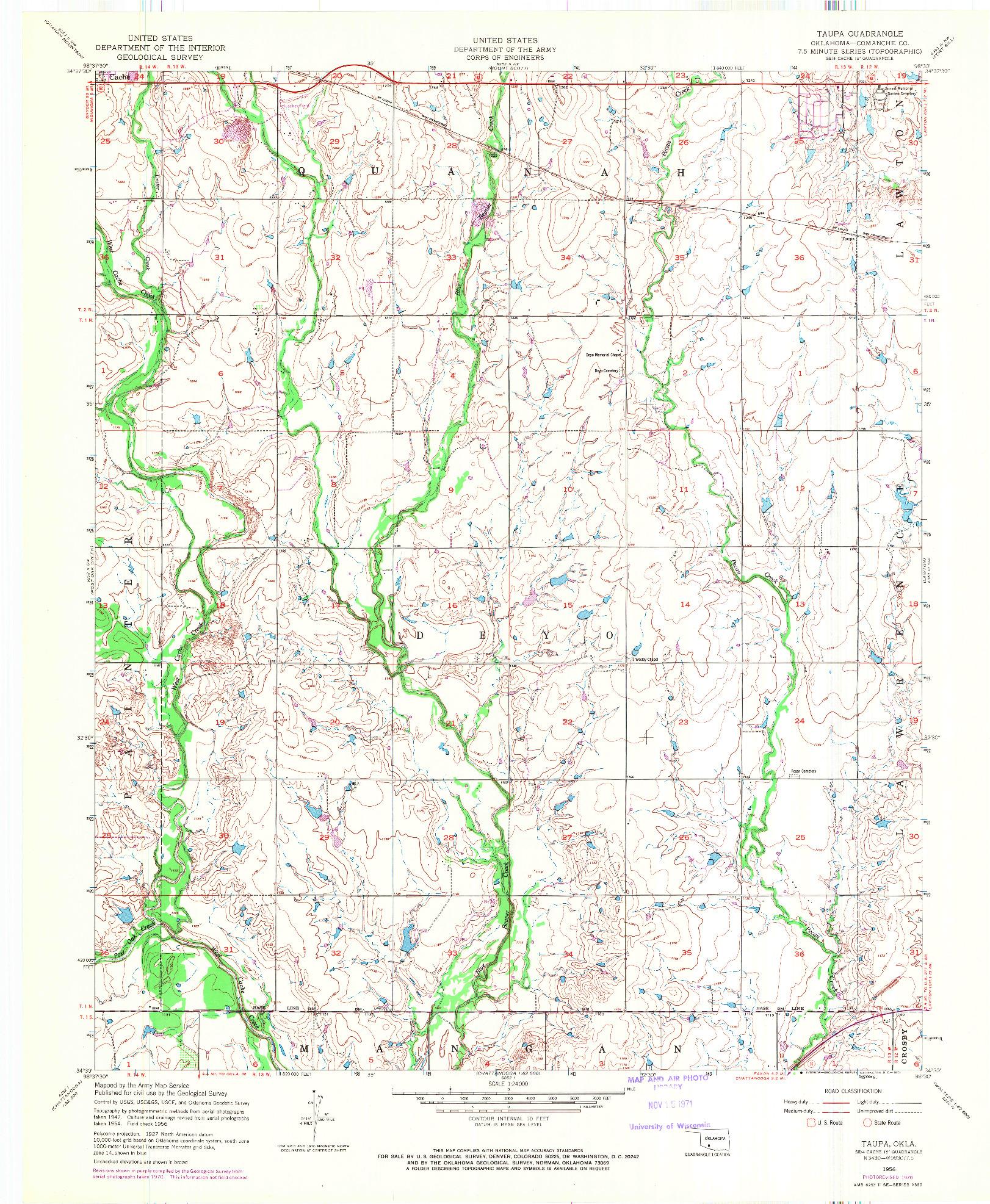 USGS 1:24000-SCALE QUADRANGLE FOR TAUPA, OK 1956