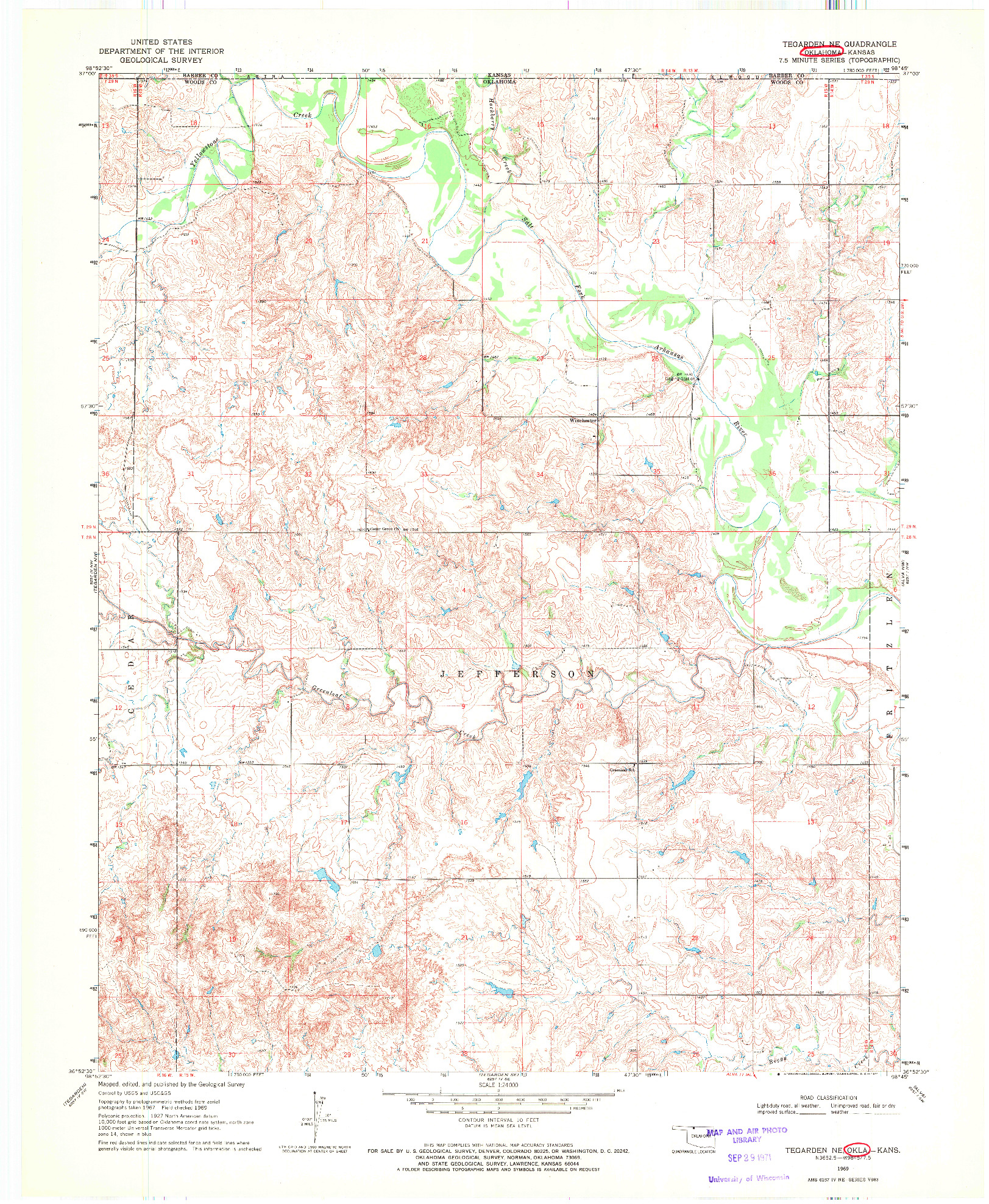 USGS 1:24000-SCALE QUADRANGLE FOR TEGARDEN NE, OK 1969