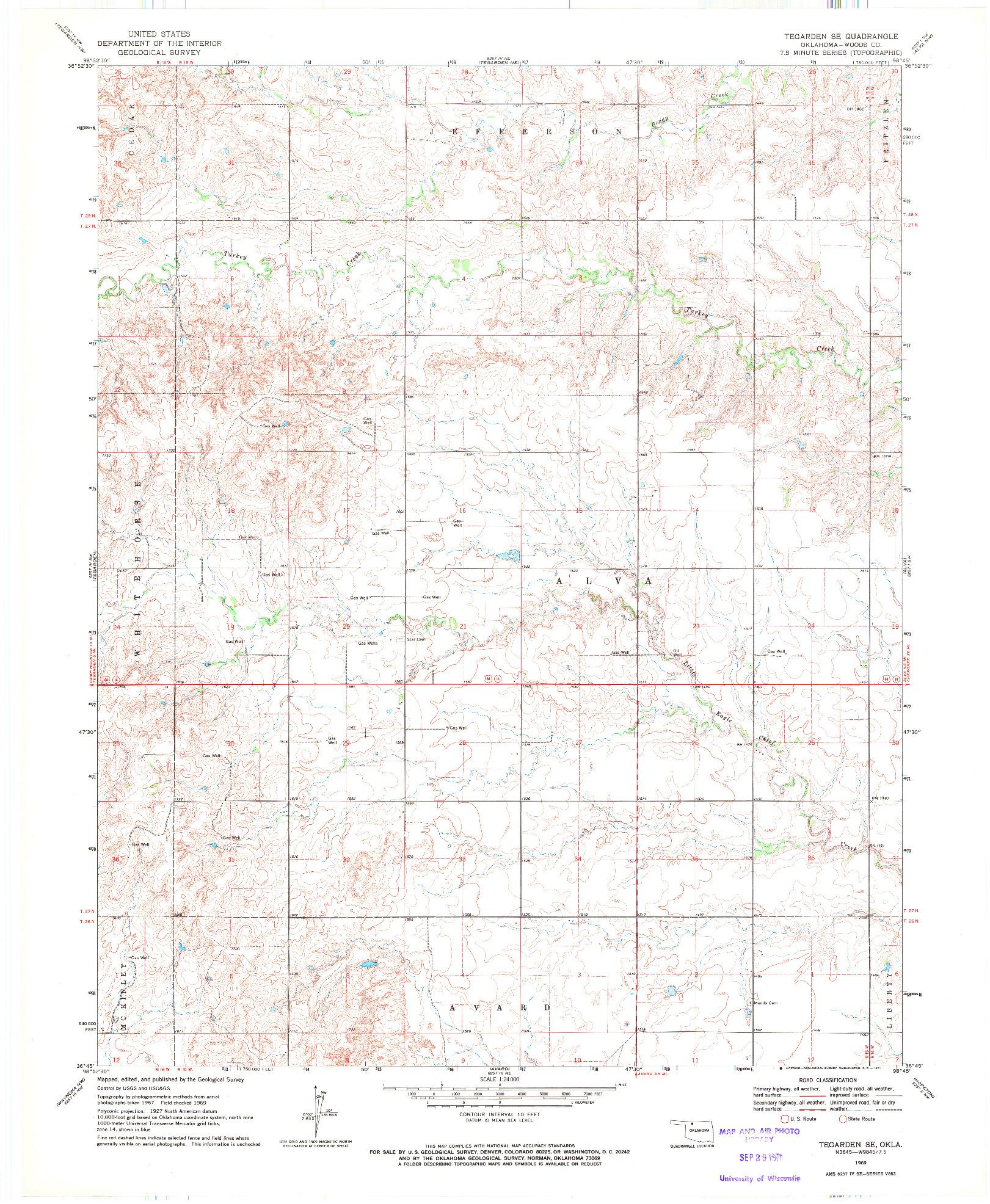 USGS 1:24000-SCALE QUADRANGLE FOR TEGARDEN SE, OK 1969