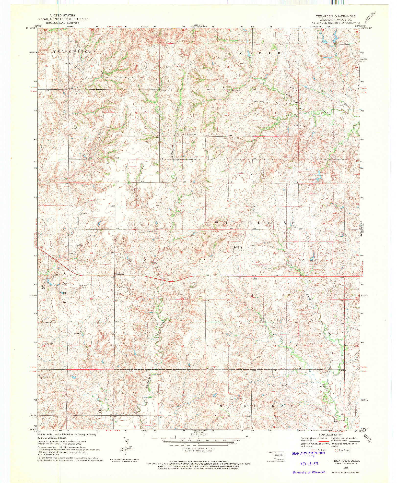 USGS 1:24000-SCALE QUADRANGLE FOR TEGARDEN, OK 1969