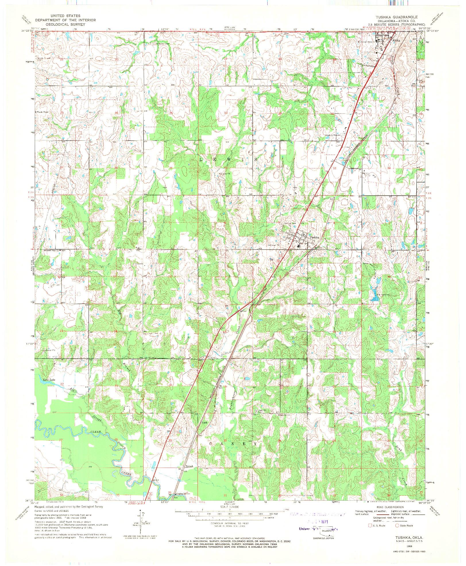 USGS 1:24000-SCALE QUADRANGLE FOR TUSHKA, OK 1969