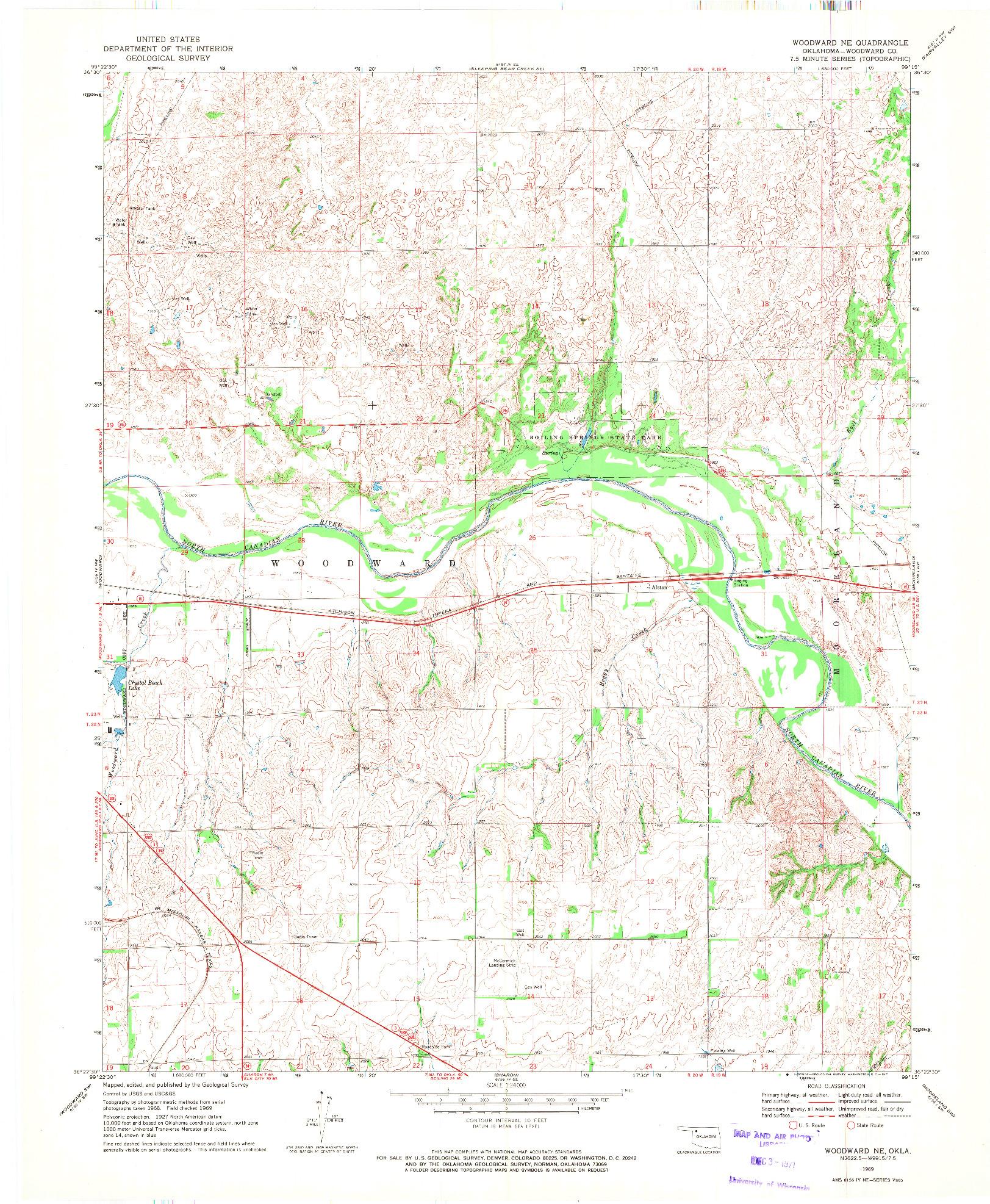 USGS 1:24000-SCALE QUADRANGLE FOR WOODWARD NE, OK 1969