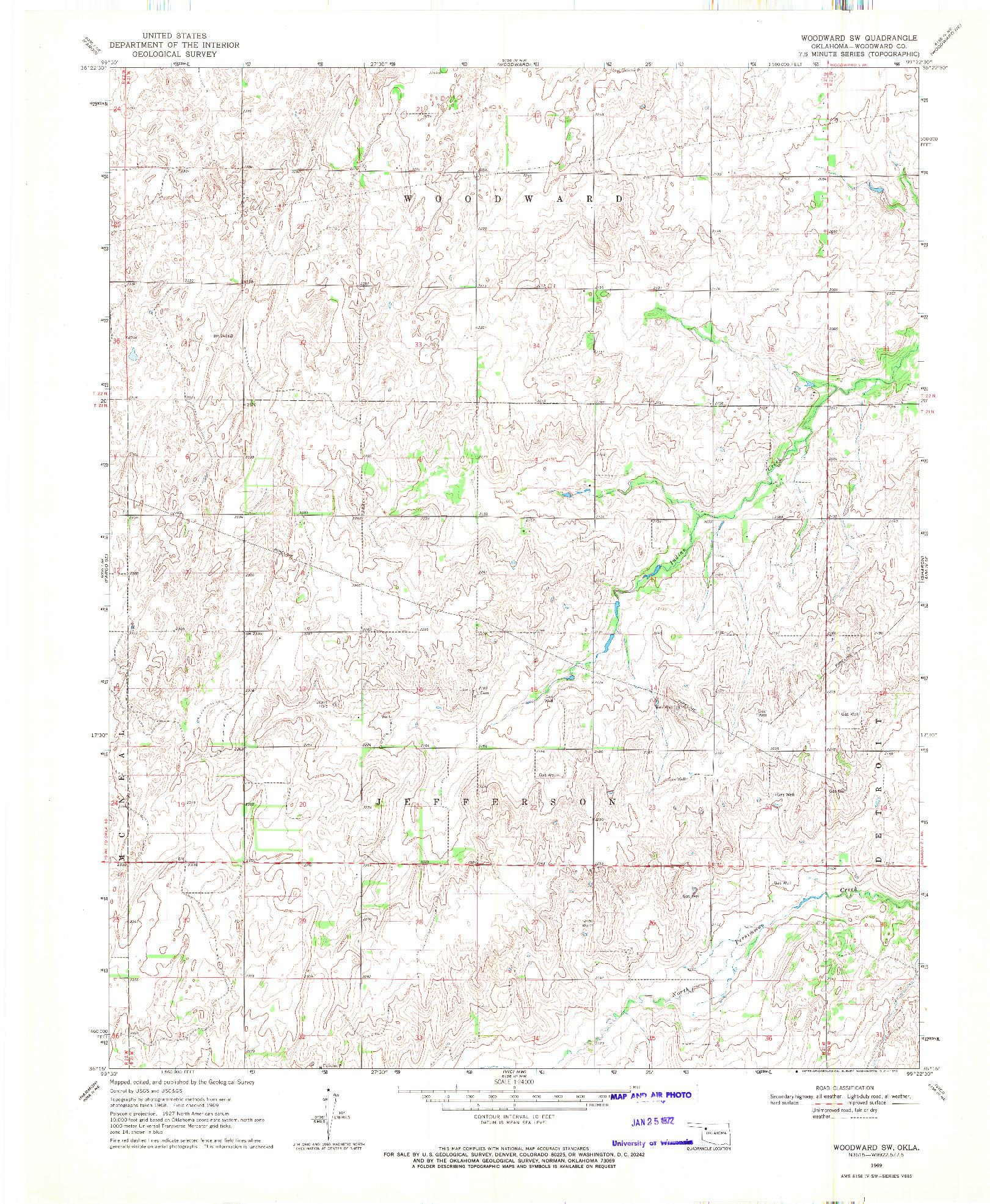 USGS 1:24000-SCALE QUADRANGLE FOR WOODWARD SW, OK 1969
